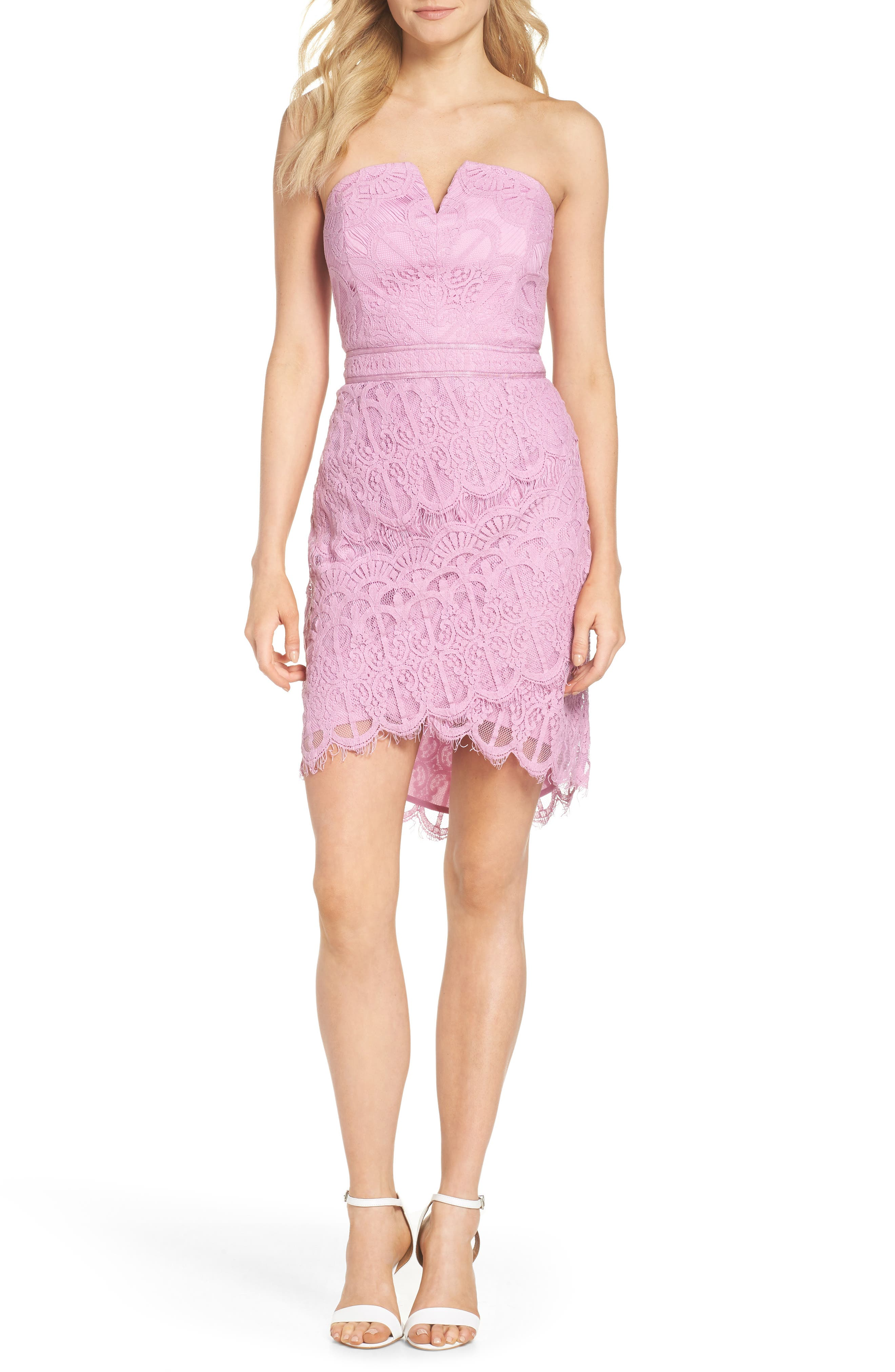 Strapless Lace Dress,                         Main,                         color, 532