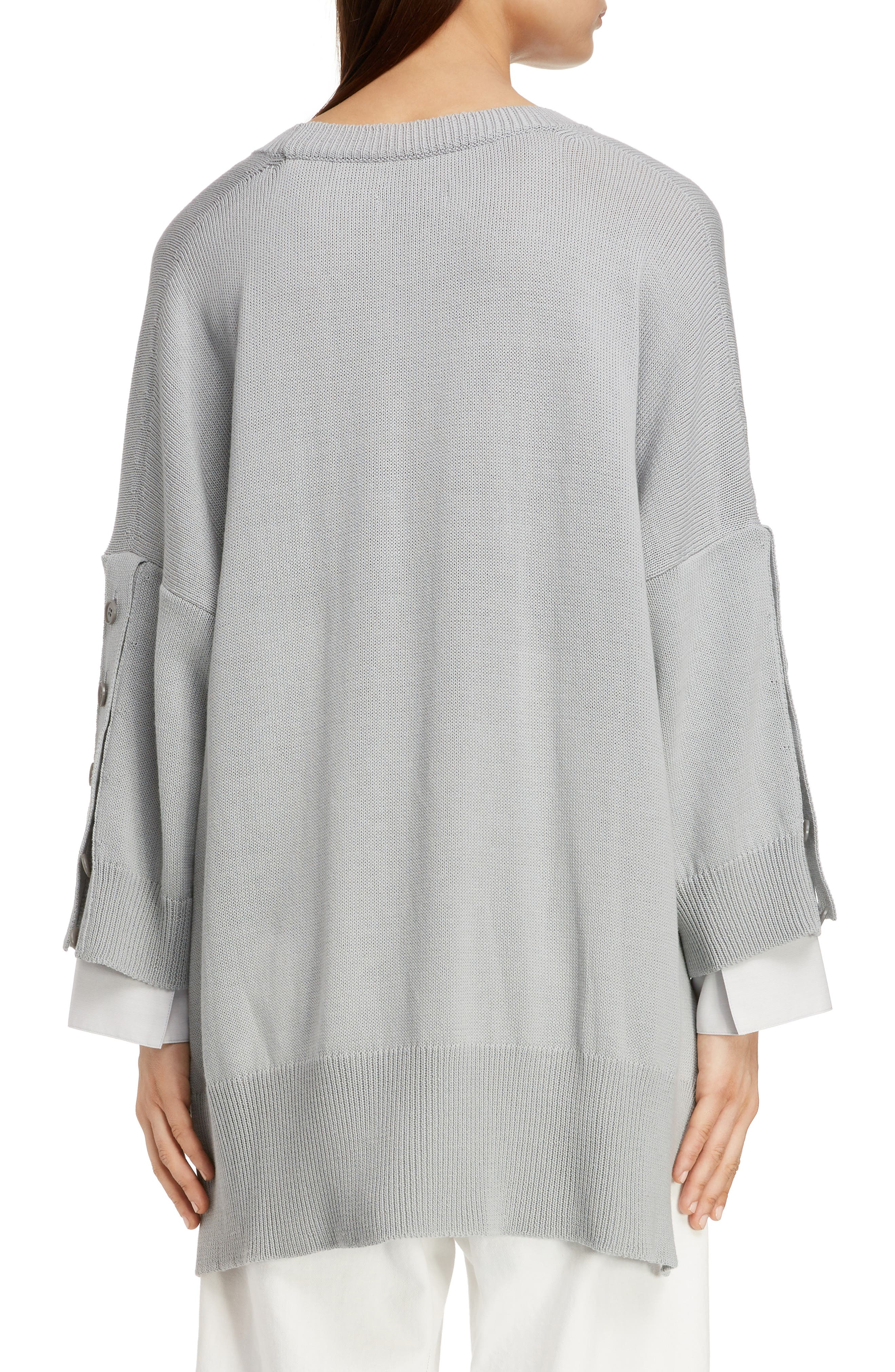 Button Sleeve Sweater,                             Alternate thumbnail 2, color,                             LIGHT GREY