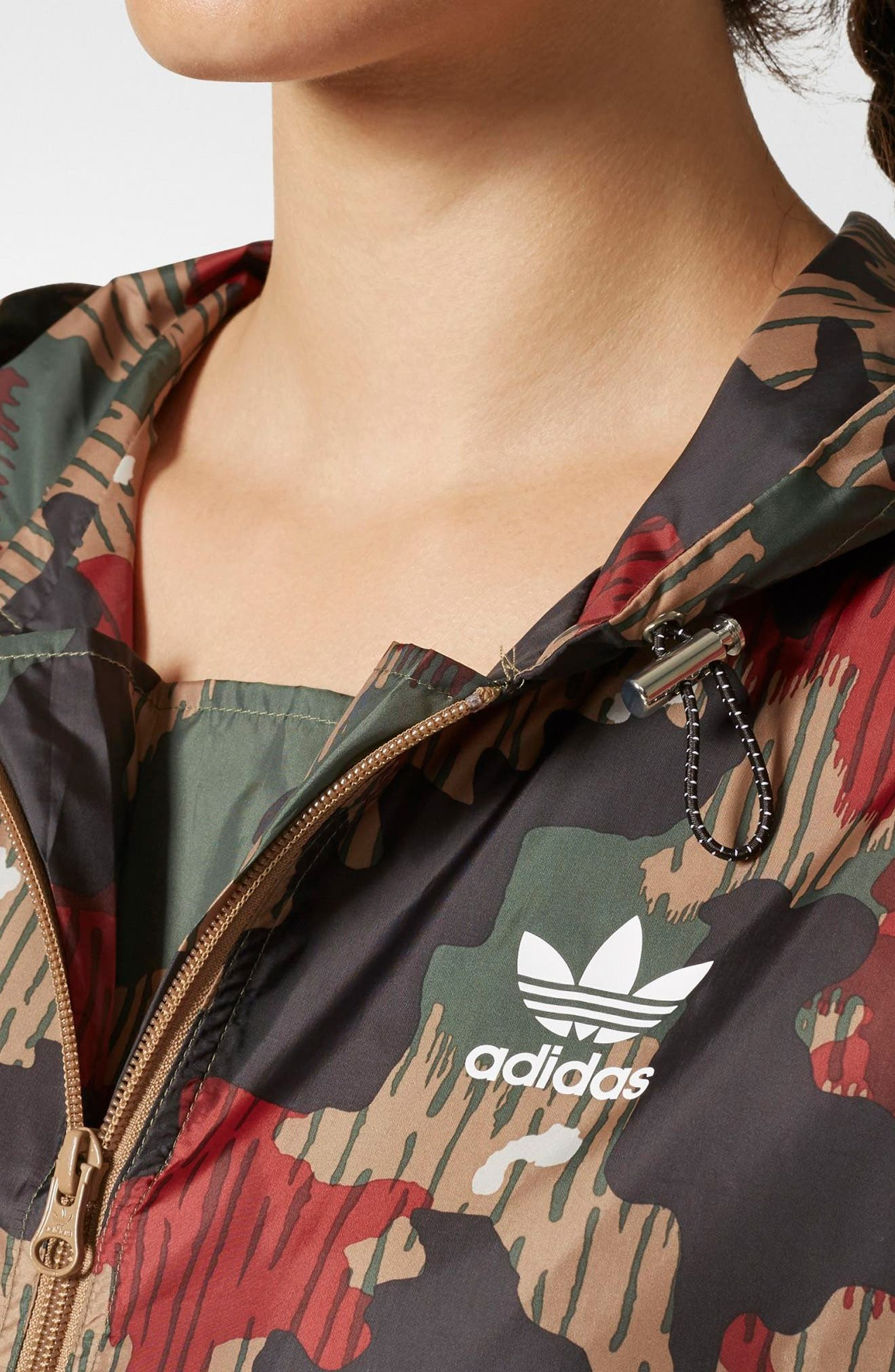 Originals by Pharrell Williams HU Hiking Camo Logo Windbreaker,                             Alternate thumbnail 4, color,                             300