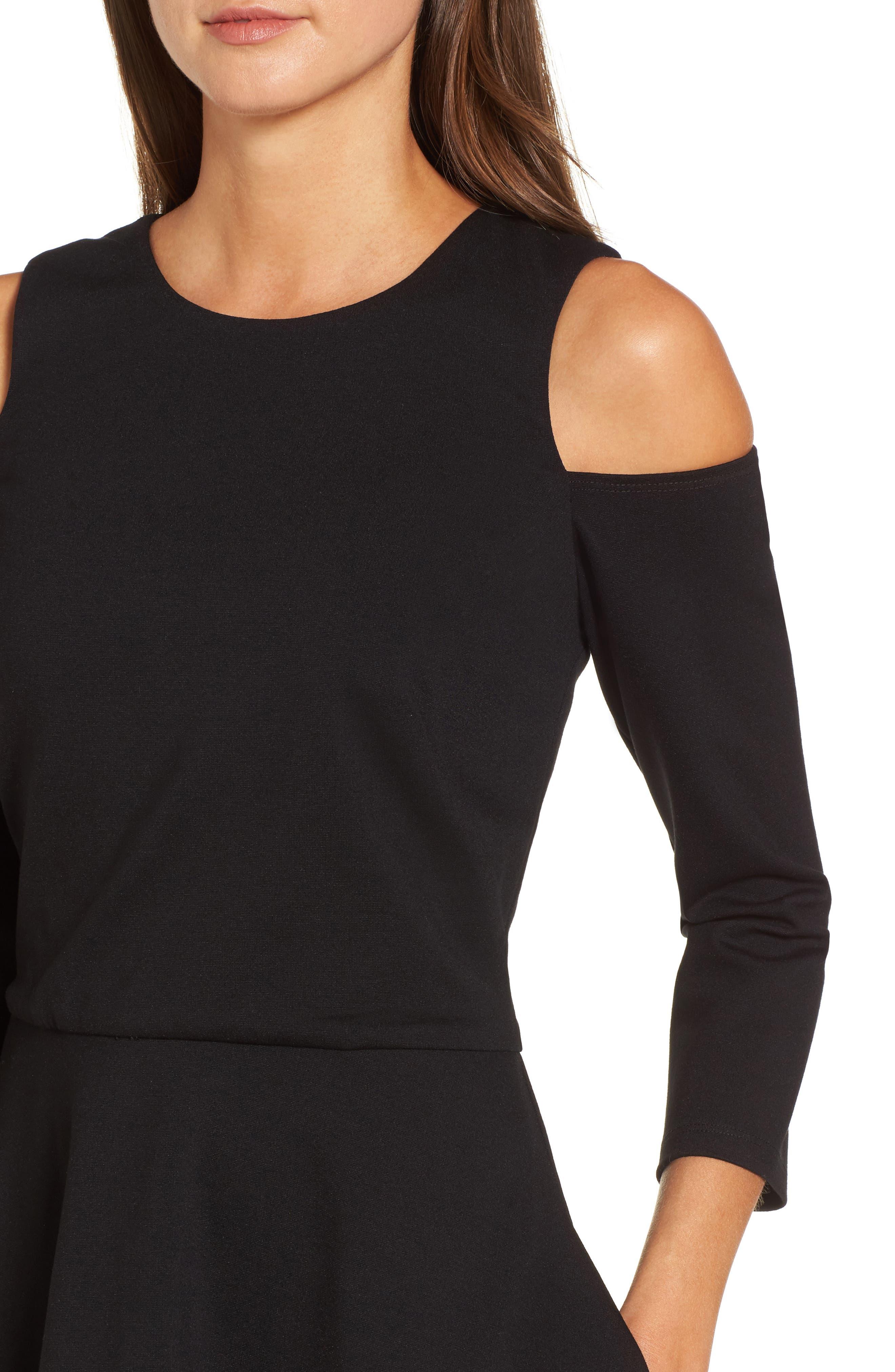 Cold Shoulder Fit & Flare Dress,                             Alternate thumbnail 4, color,                             001