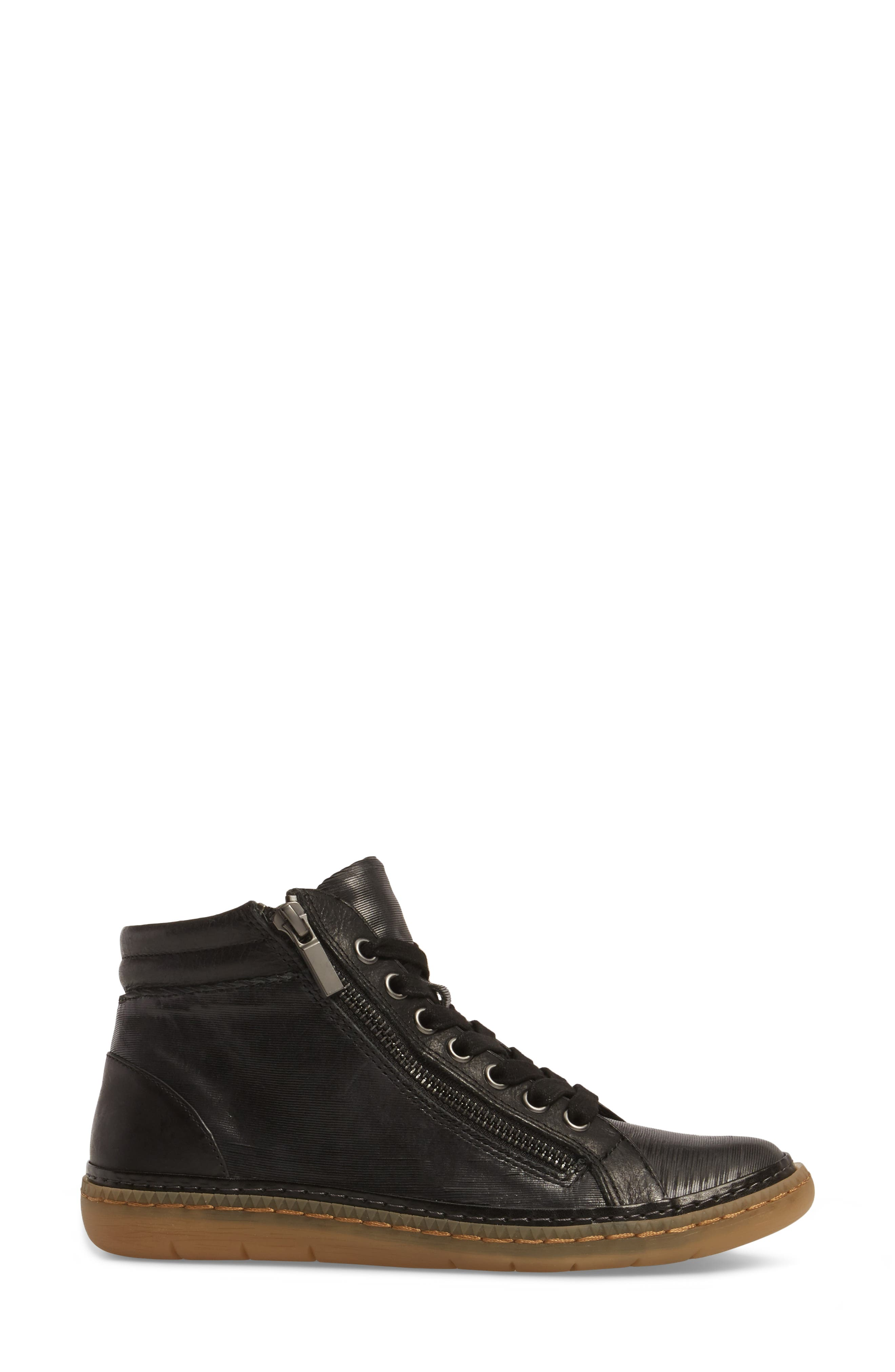 Annaleigh High Top Sneaker,                             Alternate thumbnail 3, color,                             BLACK LEATHER