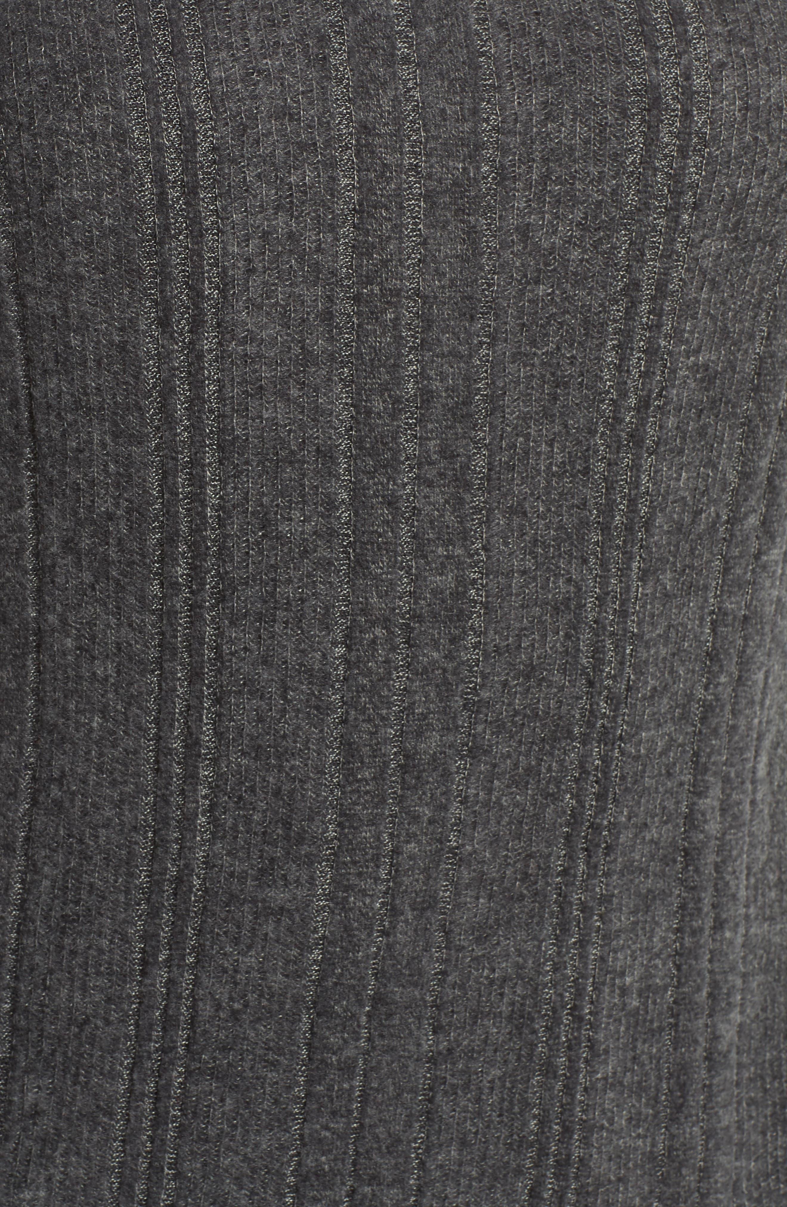 Drop Needle Hacci Cowl Neck Top,                             Alternate thumbnail 5, color,                             GREY H- BLACK MARL