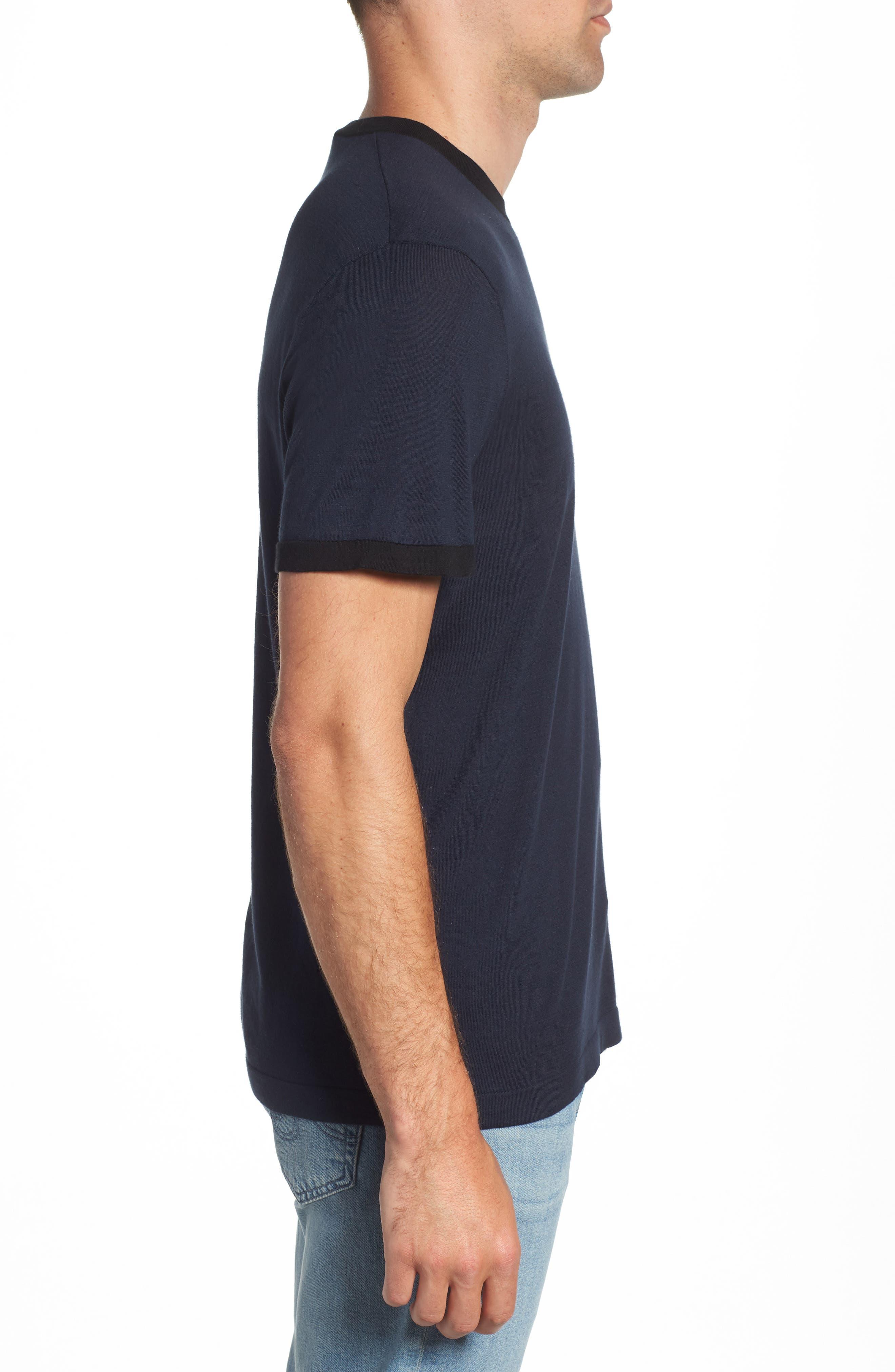 Regular Fit Ringer T-Shirt,                             Alternate thumbnail 3, color,                             FRENCH NAVY/ BLACK