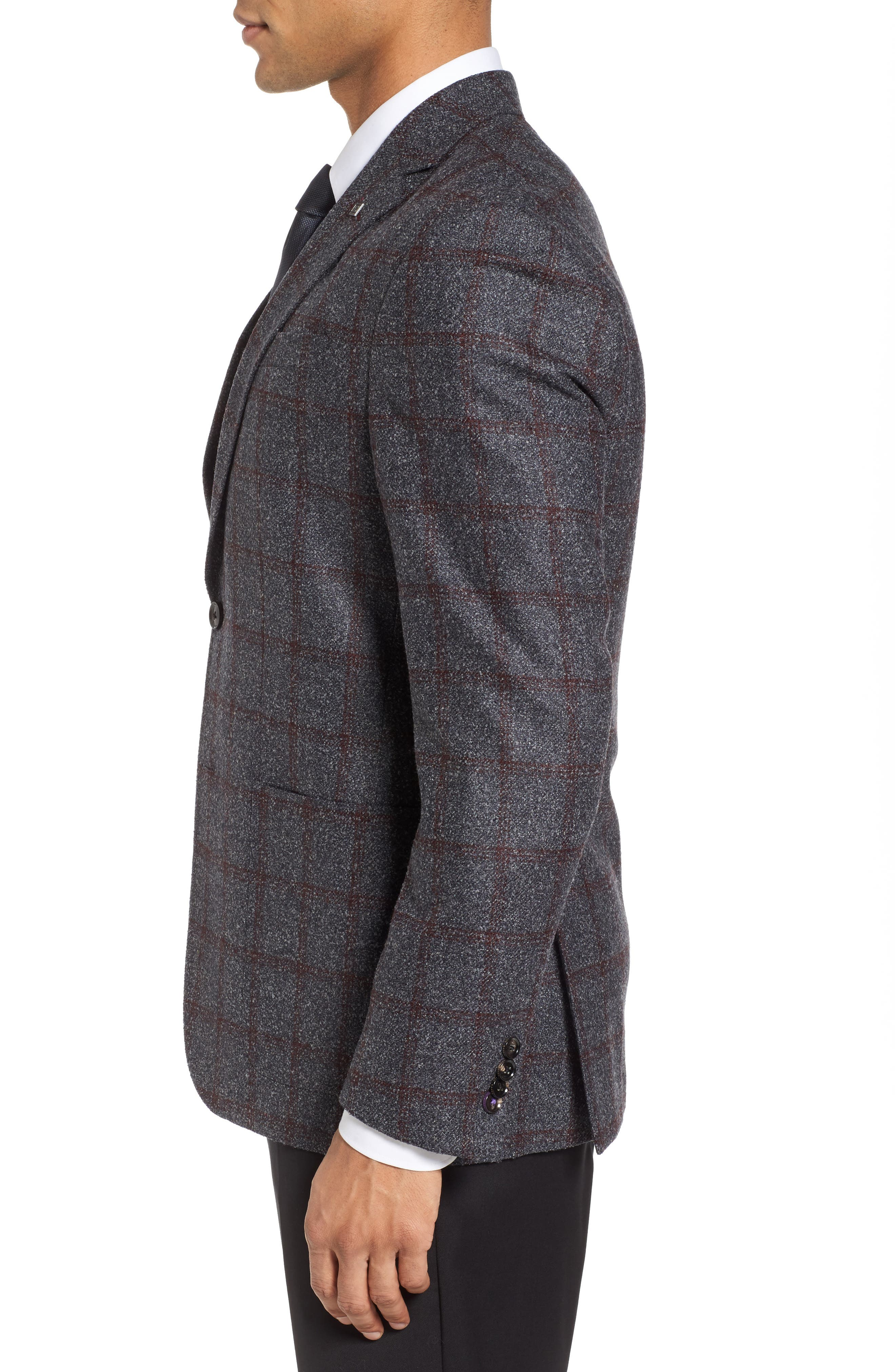 Kyle Trim Fit Windowpane Wool Blend Sport Coat,                             Alternate thumbnail 3, color,                             020