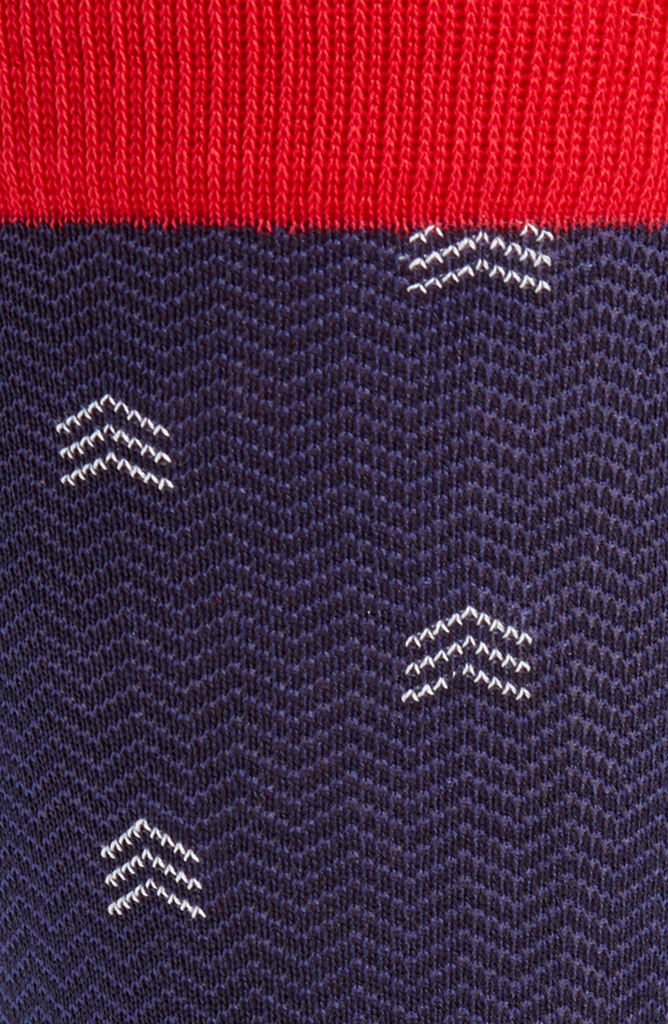 Dancing Chevron Socks,                             Alternate thumbnail 2, color,                             NAVY/ RED