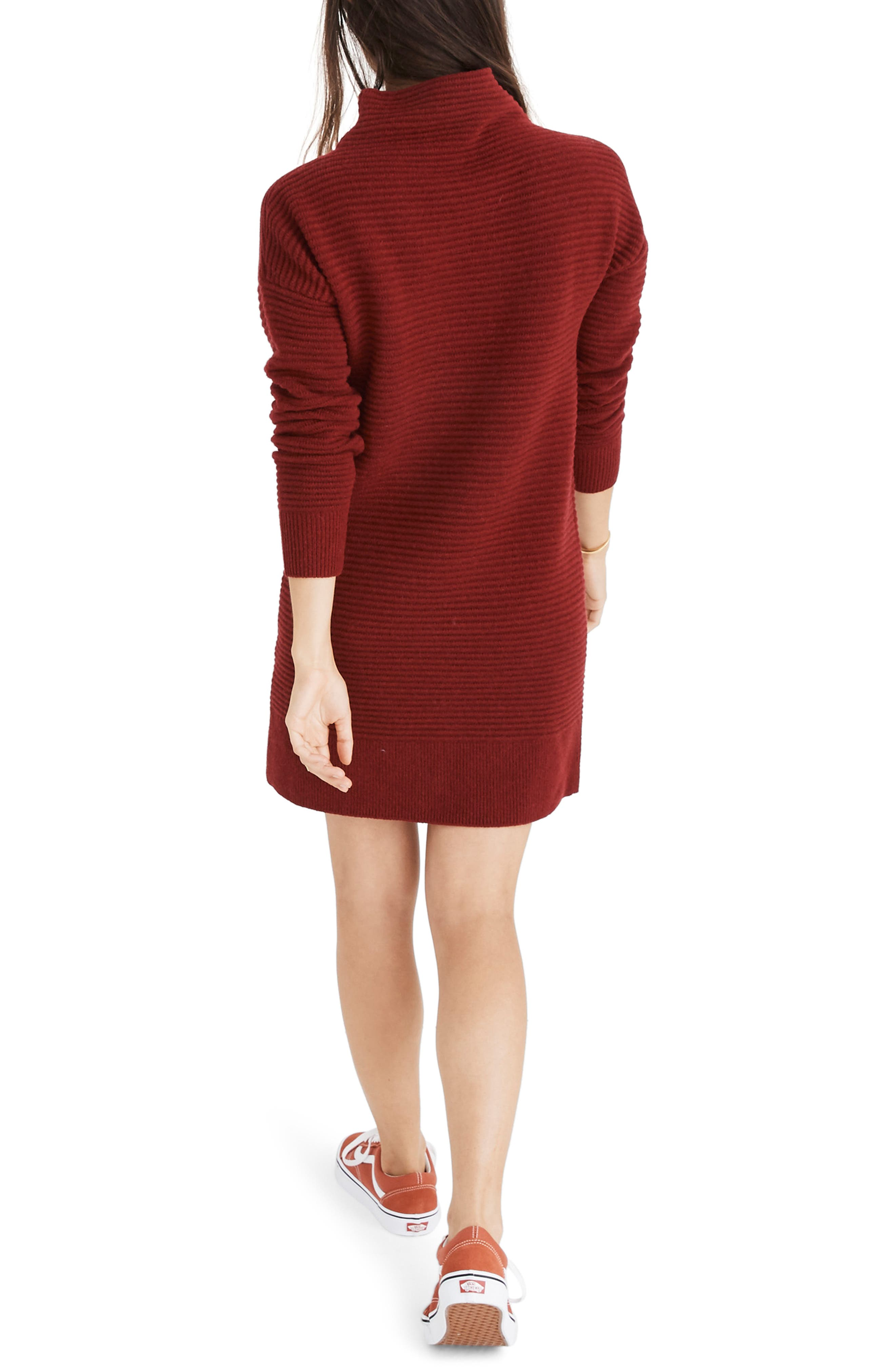 Skyscraper Merino Wool Sweater Dress,                             Alternate thumbnail 2, color,                             HEATHER BURGUNDY