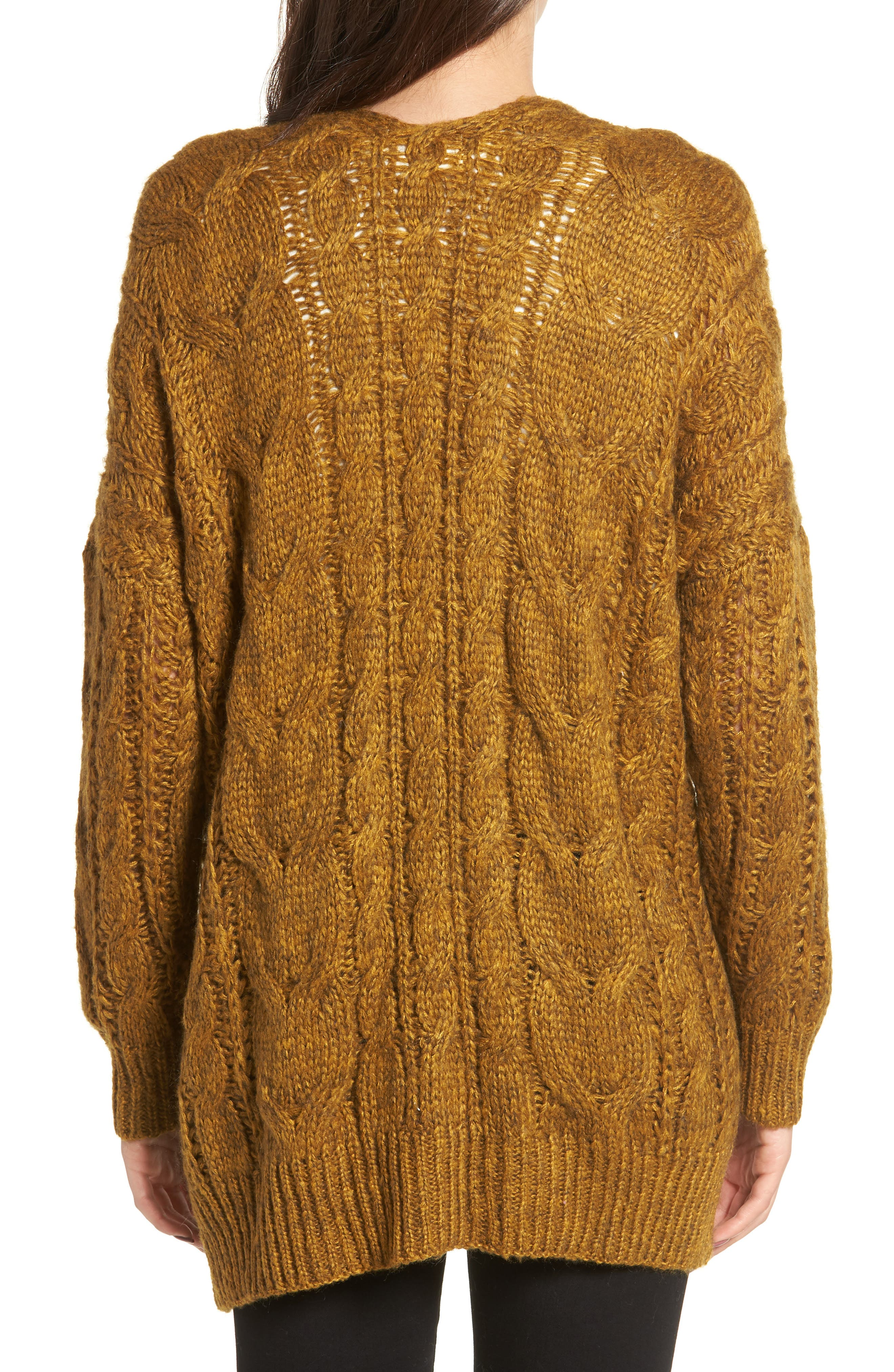 Chunky Cable Knit Cardigan,                             Alternate thumbnail 2, color,                             MUSTARD