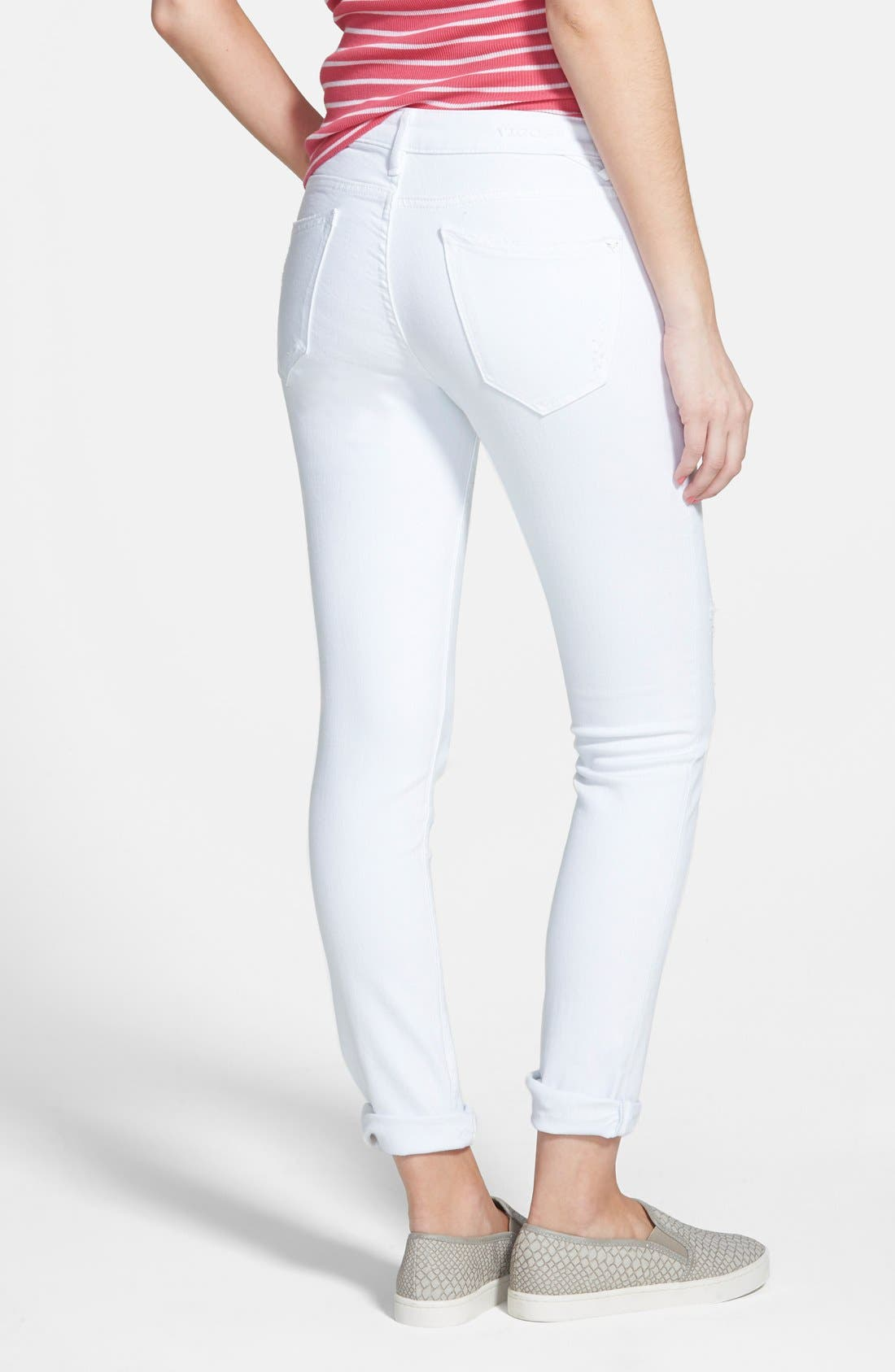 'Tomboy' Destroyed Crop Skinny Jeans,                             Alternate thumbnail 3, color,                             100