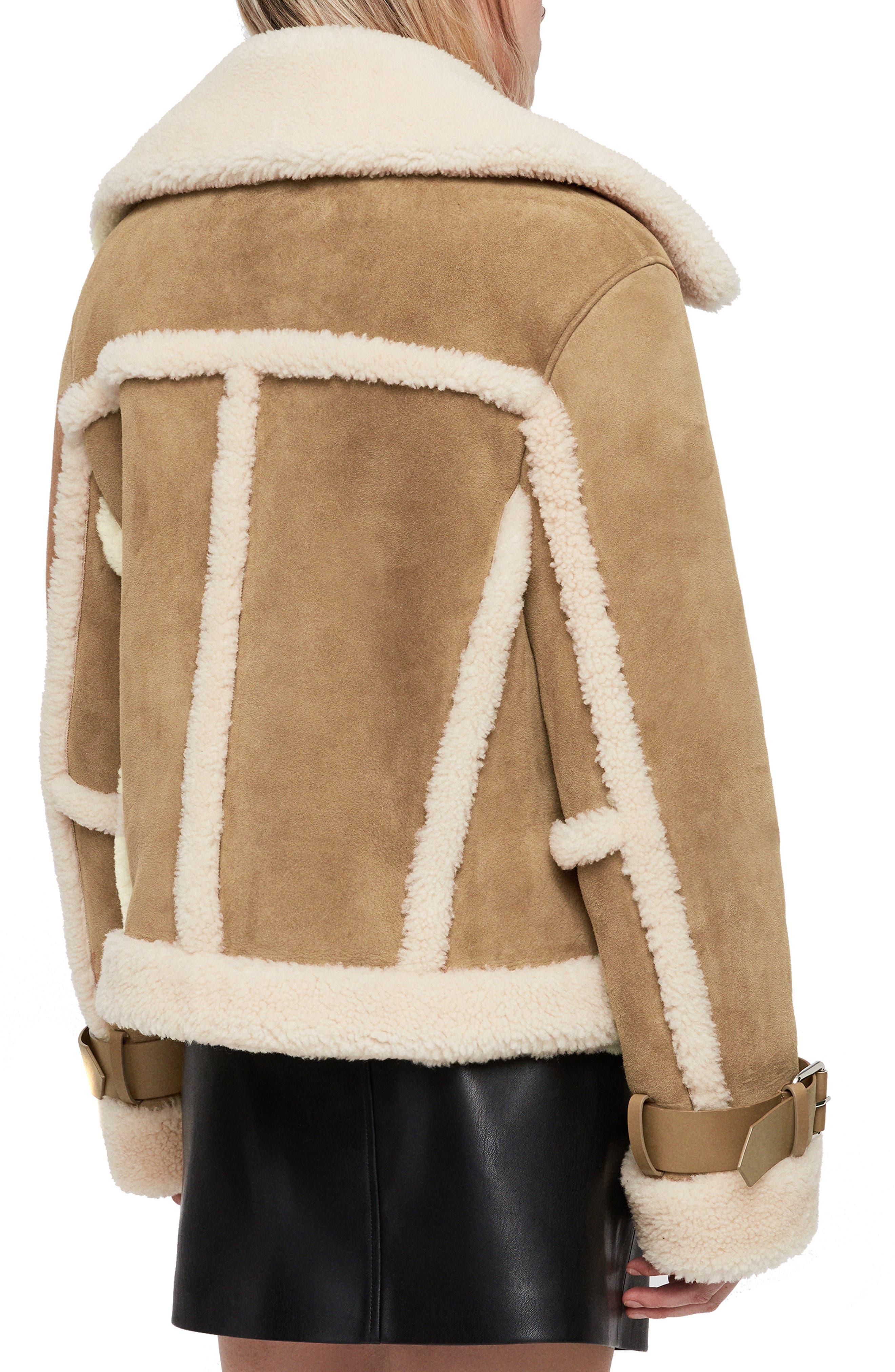 Farley Genuine Shearling Jacket,                             Alternate thumbnail 2, color,                             SAND BROWN/ ECRU