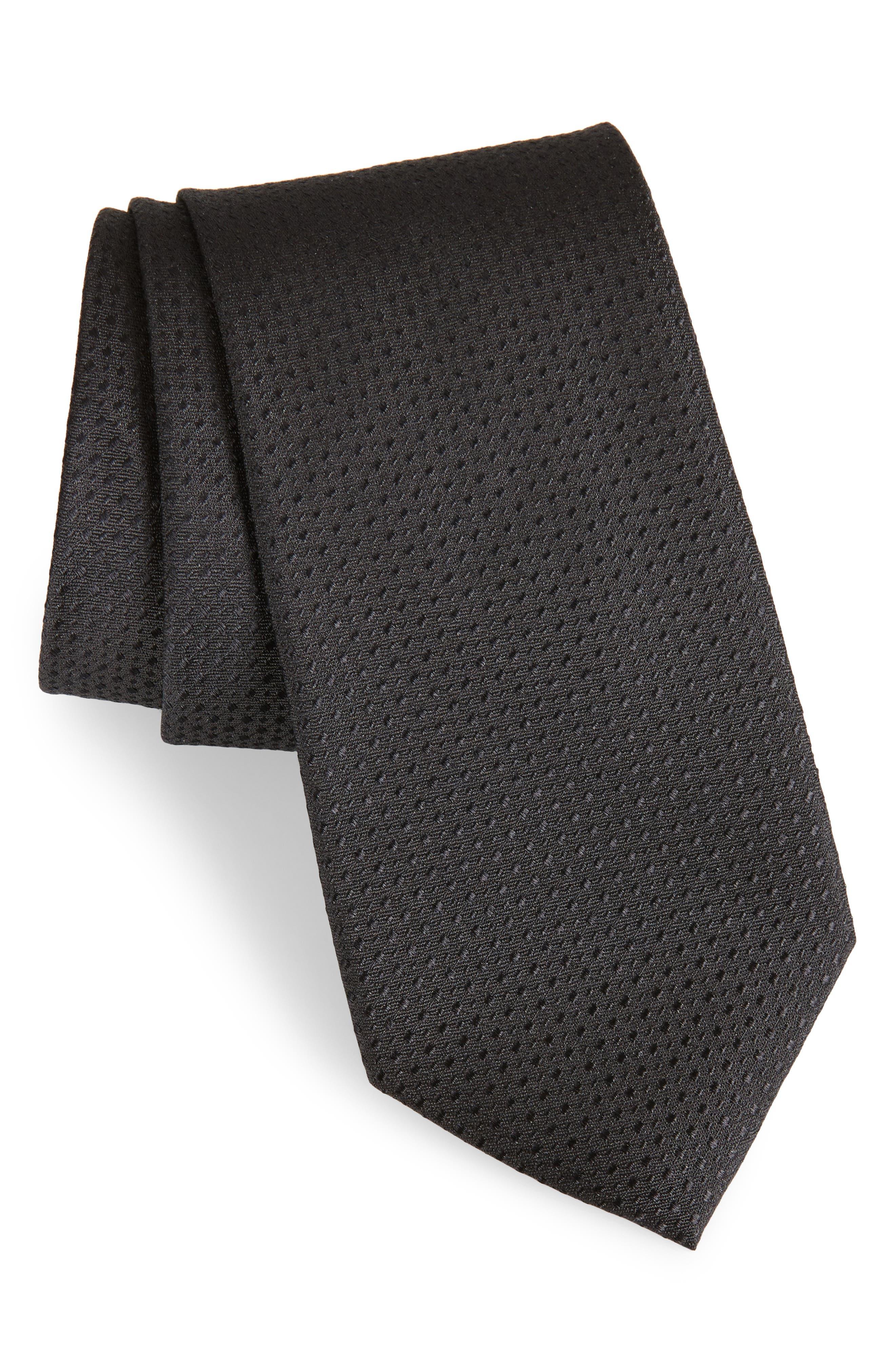 Ballard Solid Silk Tie,                         Main,                         color, BLACK