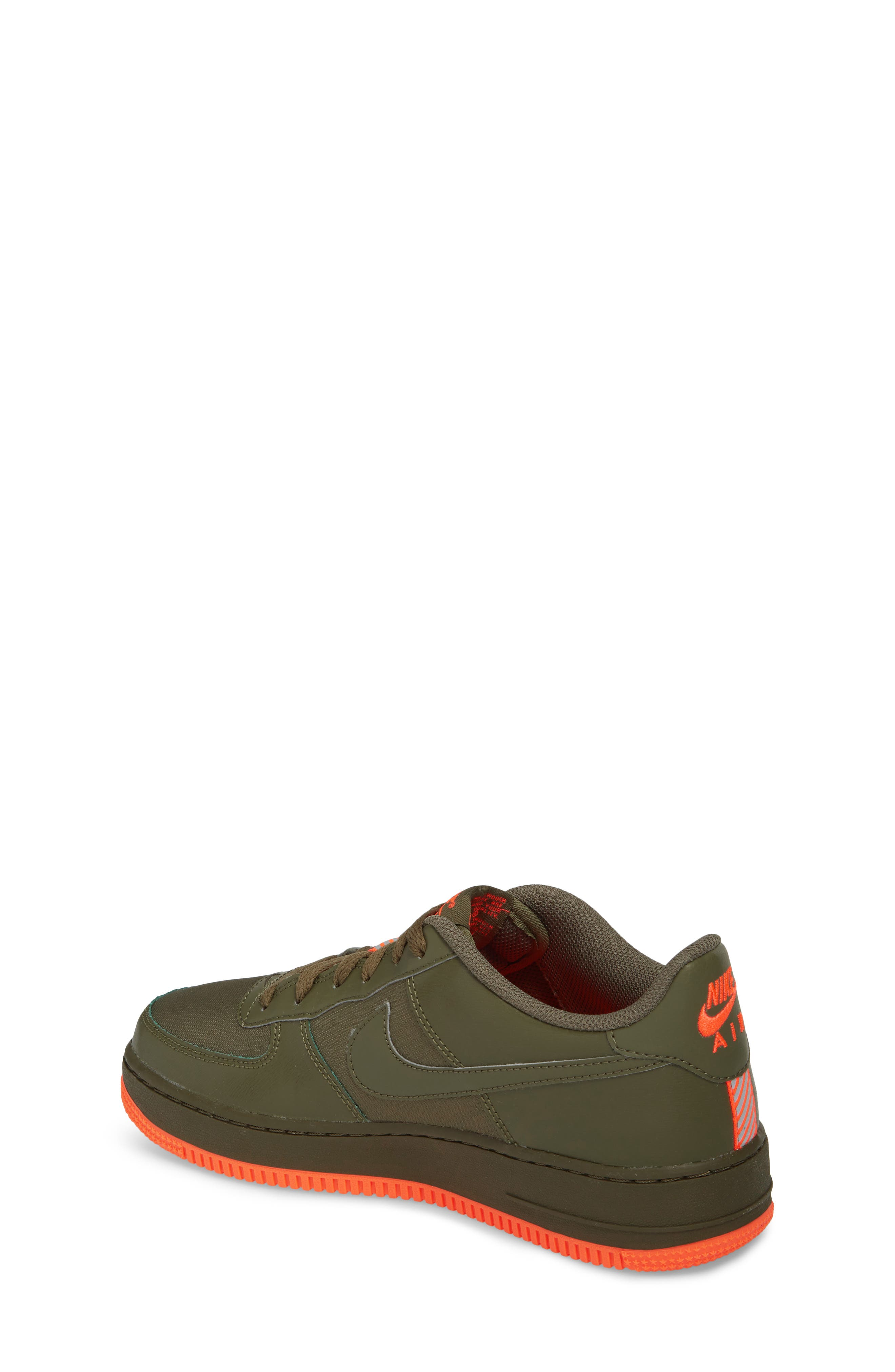 Air Force 1 LV8 Sneaker,                             Alternate thumbnail 2, color,                             MEDIUM OLIVE/ TOTAL CRIMSON