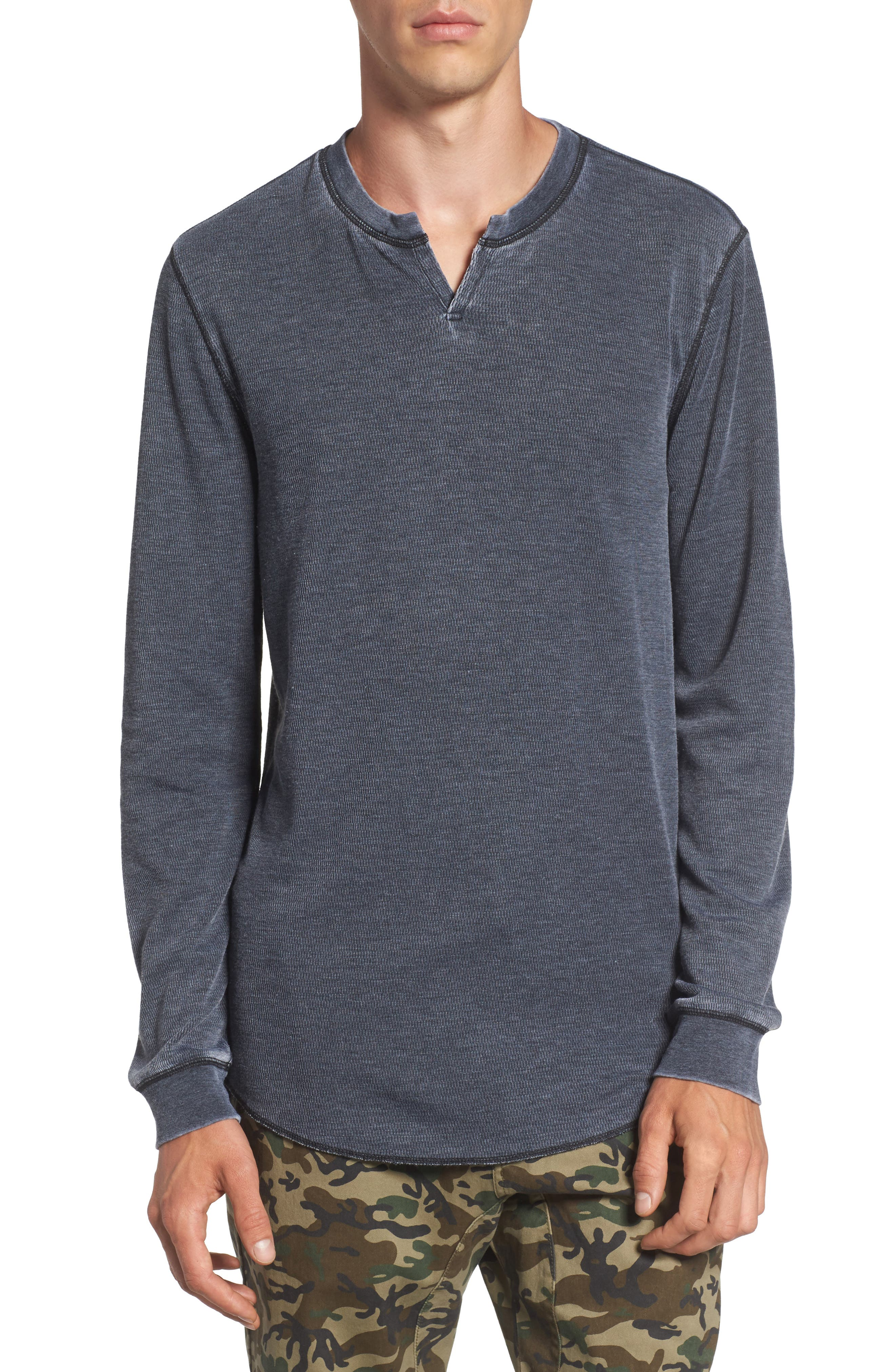 THE RAIL Notch Neck Thermal T-Shirt, Main, color, 001