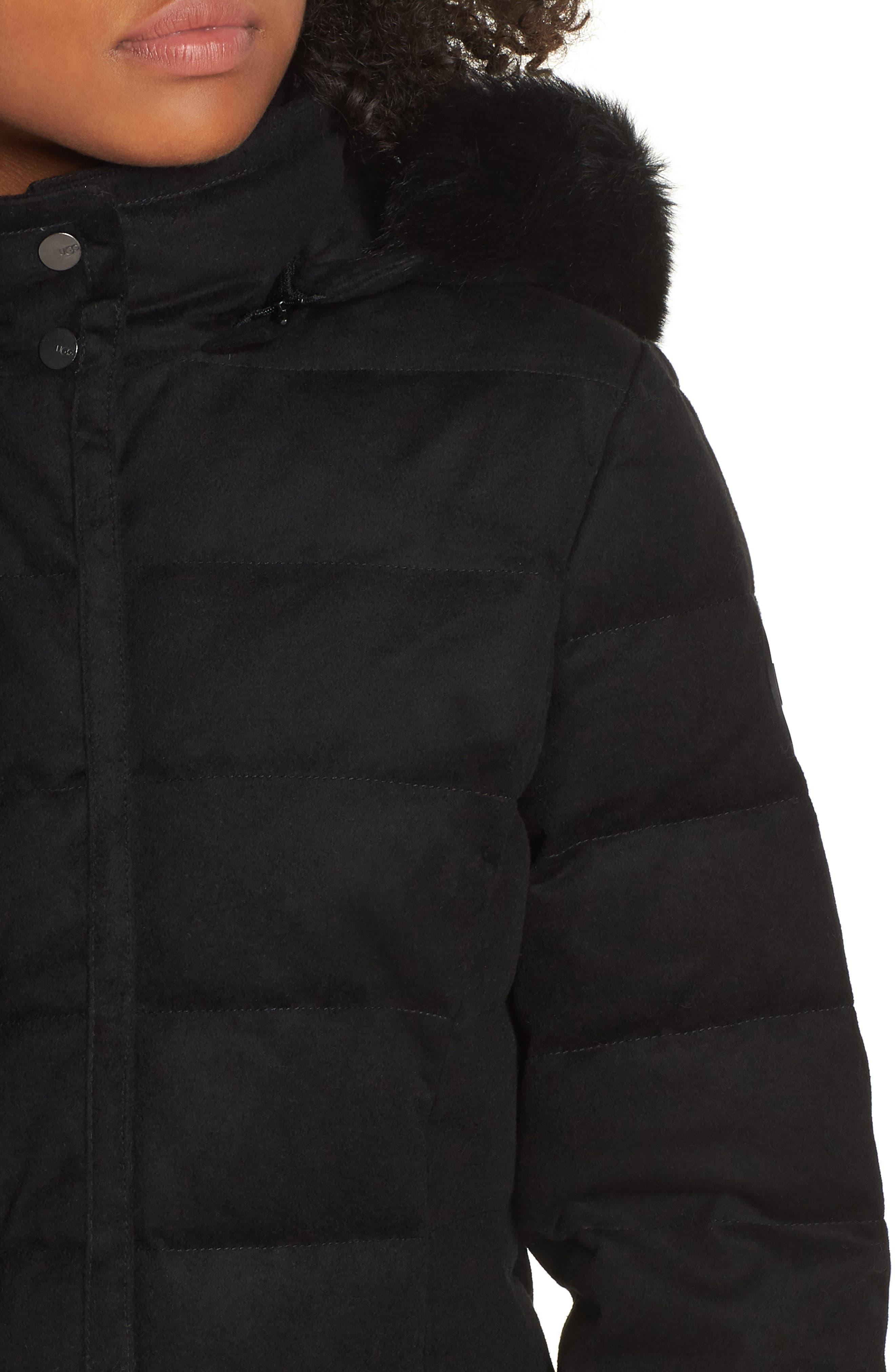 Celeste Genuine Shearling Trim Down Coat,                             Alternate thumbnail 4, color,                             BLACK