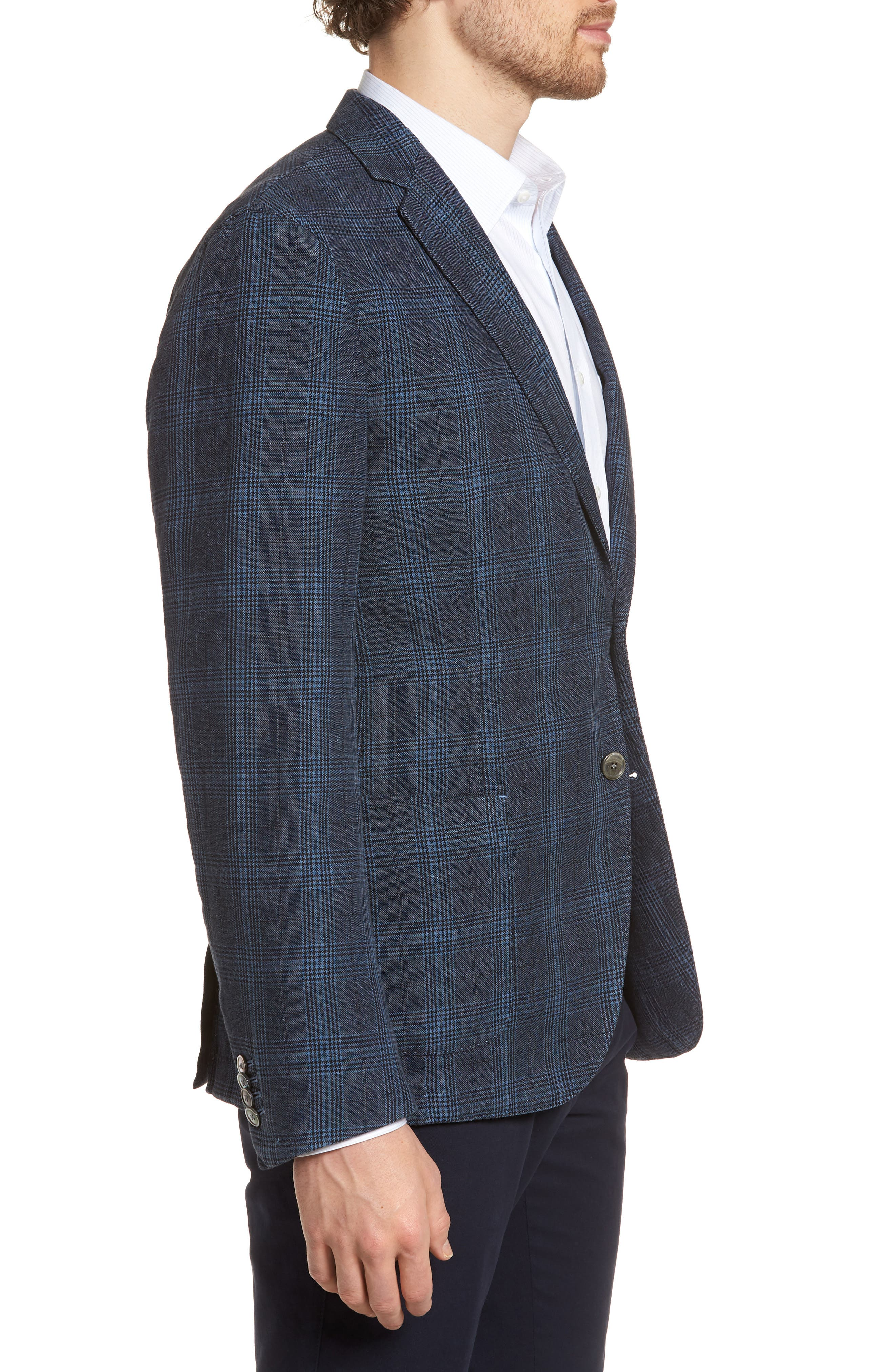 Hanry-D Trim Fit Plaid Linen & Cotton Sport Coat,                             Alternate thumbnail 3, color,                             BLUE