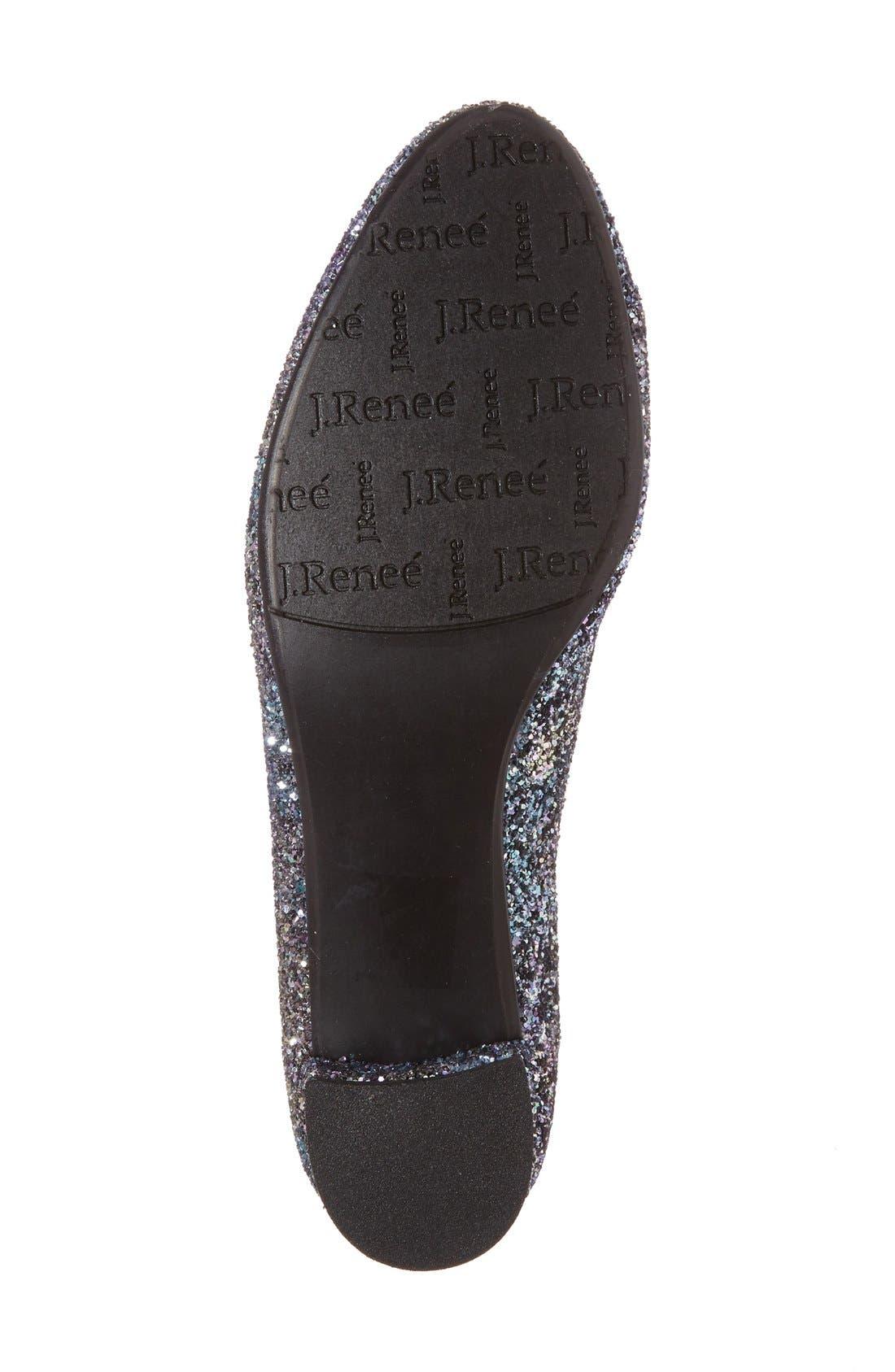 'Bambalina' Block Heel Glitter Pump,                             Alternate thumbnail 4, color,                             BLUE/ GOLD GLITTER FABRIC