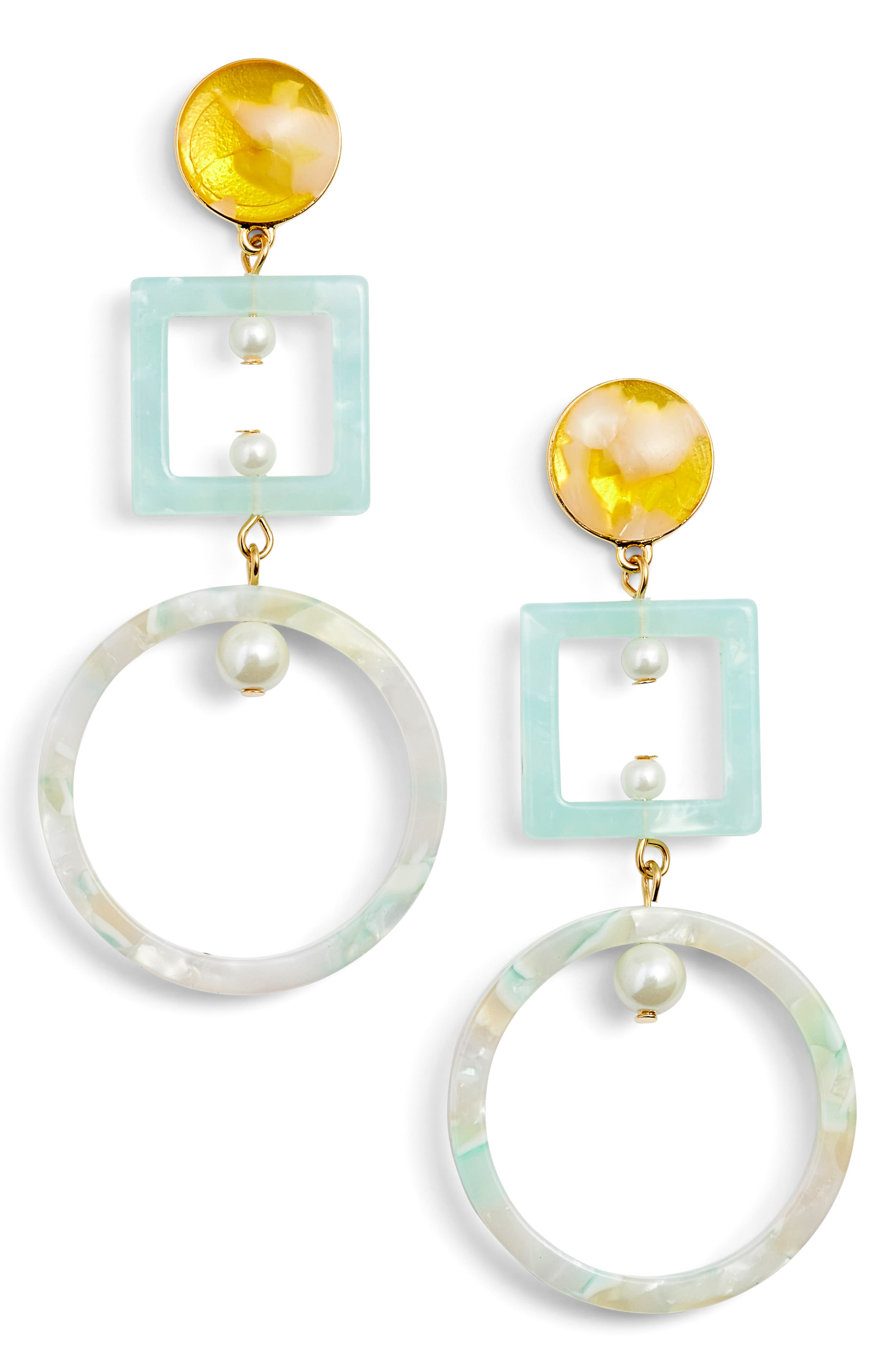 Cage Imitation Pearl Drop Earrings,                             Main thumbnail 1, color,                             SUNSHINE YELLOW