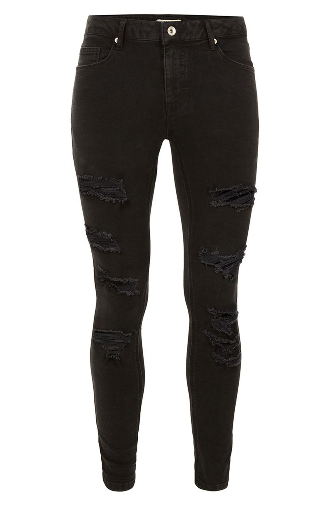 TOPMAN,                             Skinny Spray On Ripped Jeans,                             Alternate thumbnail 4, color,                             001