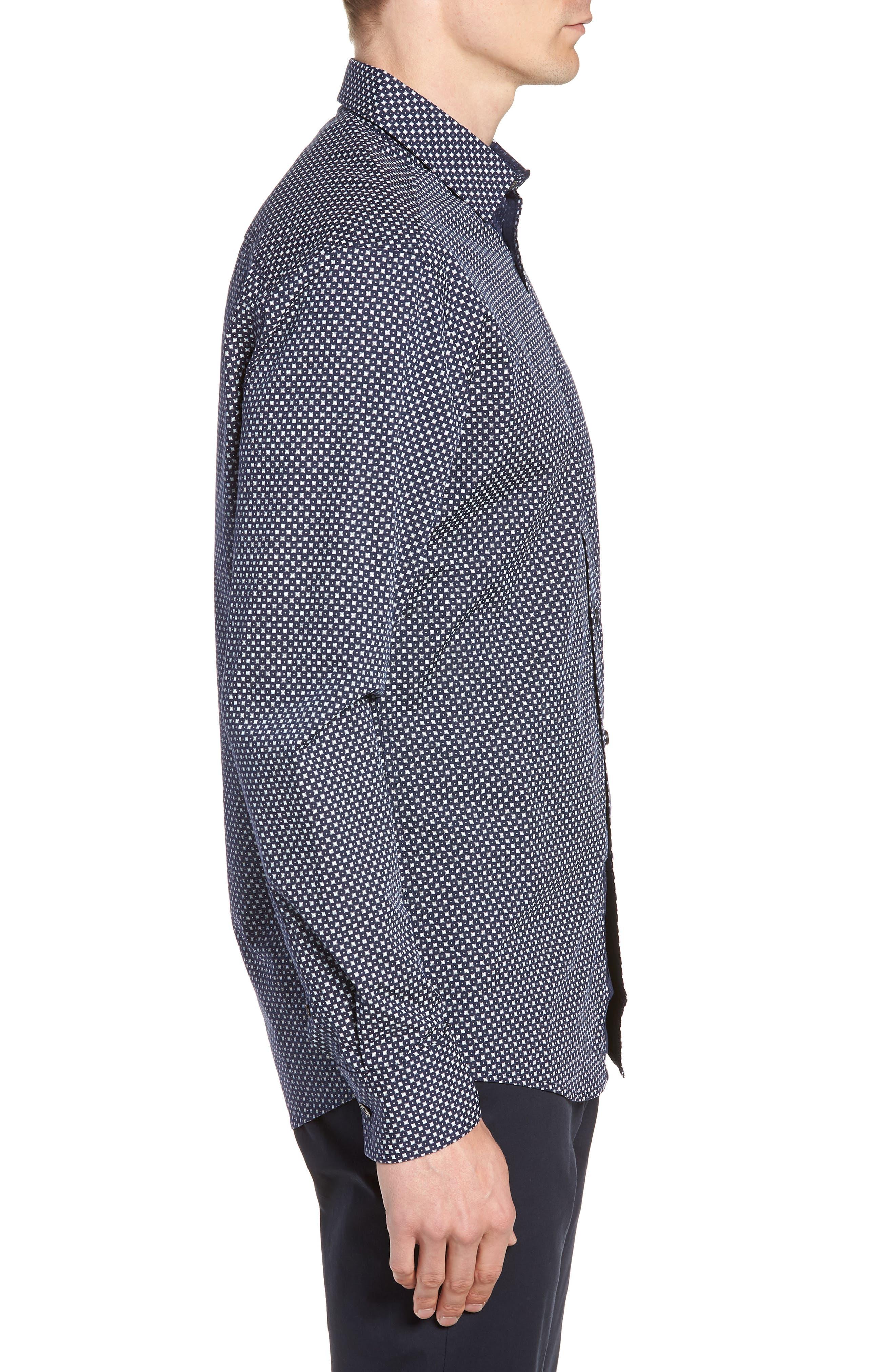 Regular Fit Geometric Dot Sport Shirt,                             Alternate thumbnail 4, color,                             NAVY/ WHITE POPLIN PRINT
