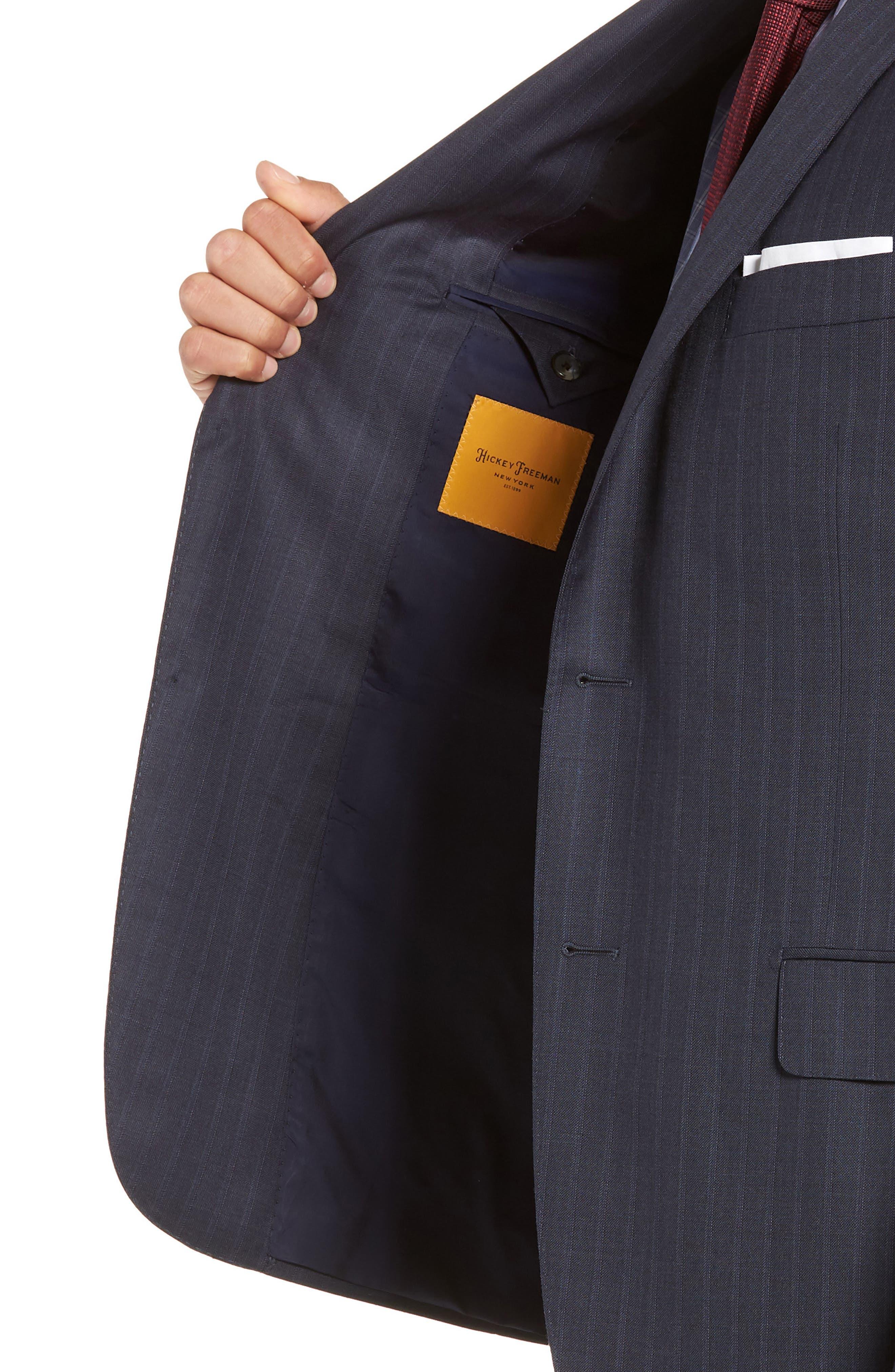 Classic Fit Stripe Wool Suit,                             Alternate thumbnail 4, color,                             DARK BLUE