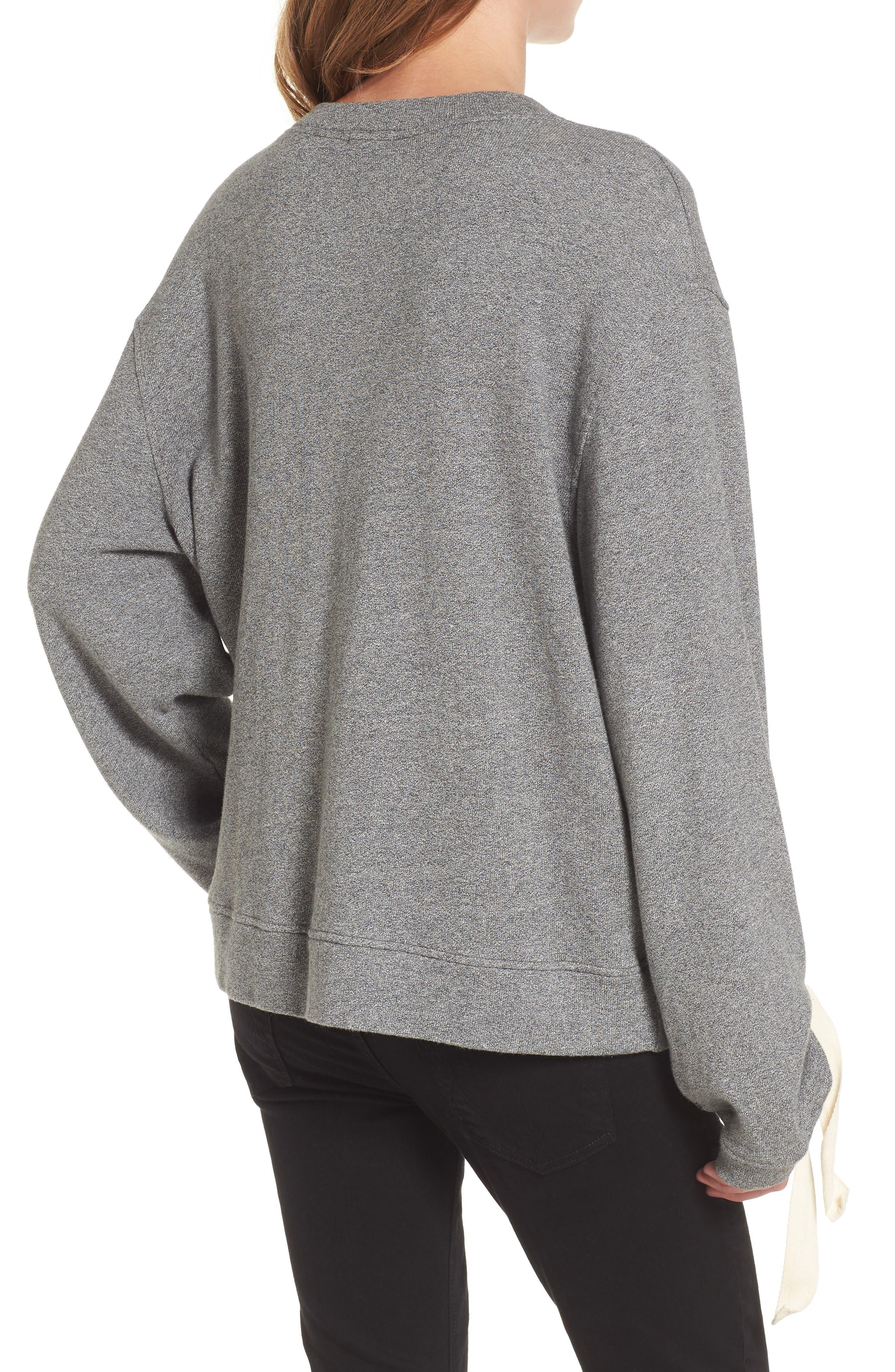 Tie Sleeve Sweater,                             Alternate thumbnail 4, color,