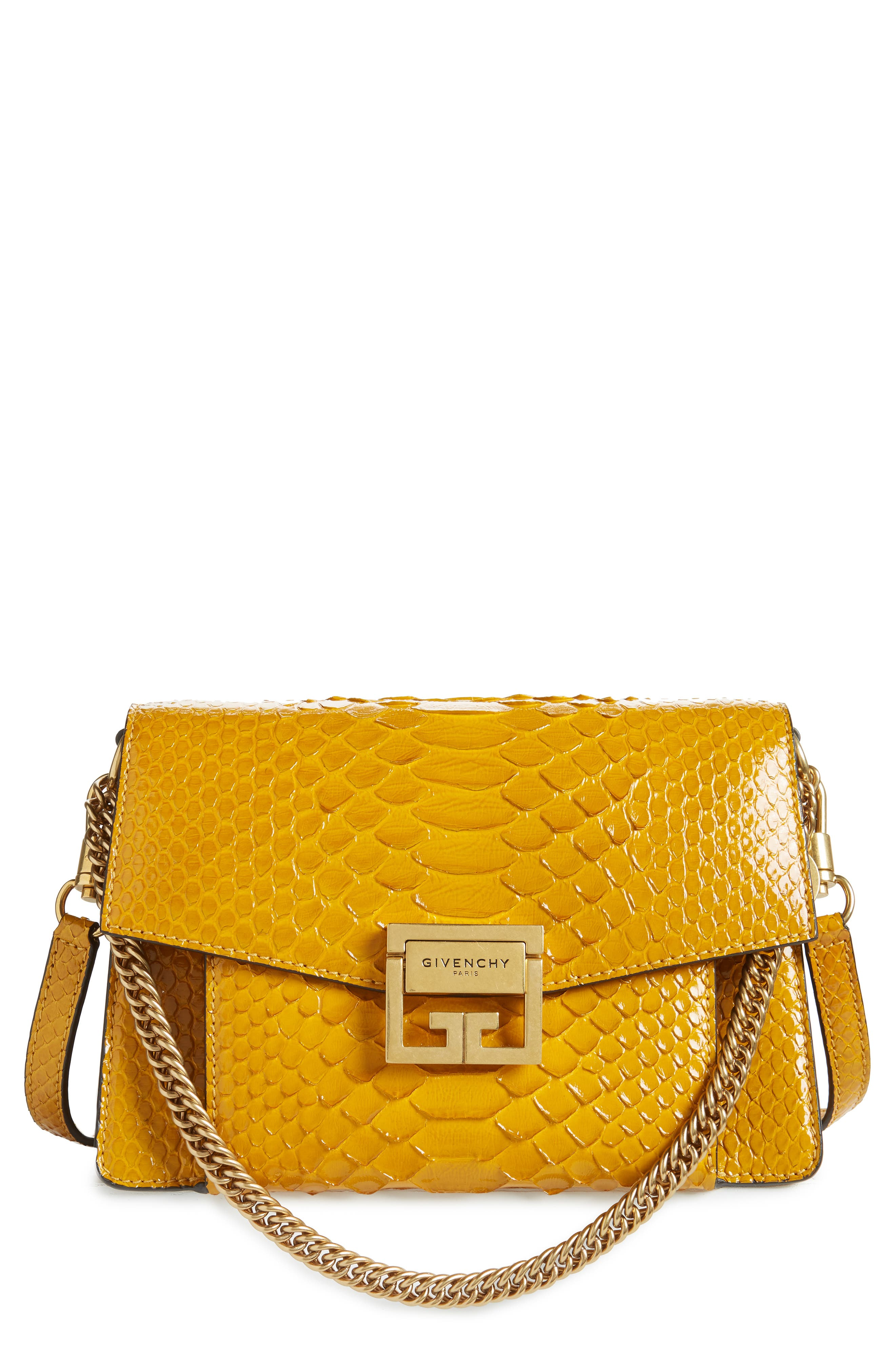 Small GV3 Genuine Python Shoulder Bag, Main, color, GOLDEN