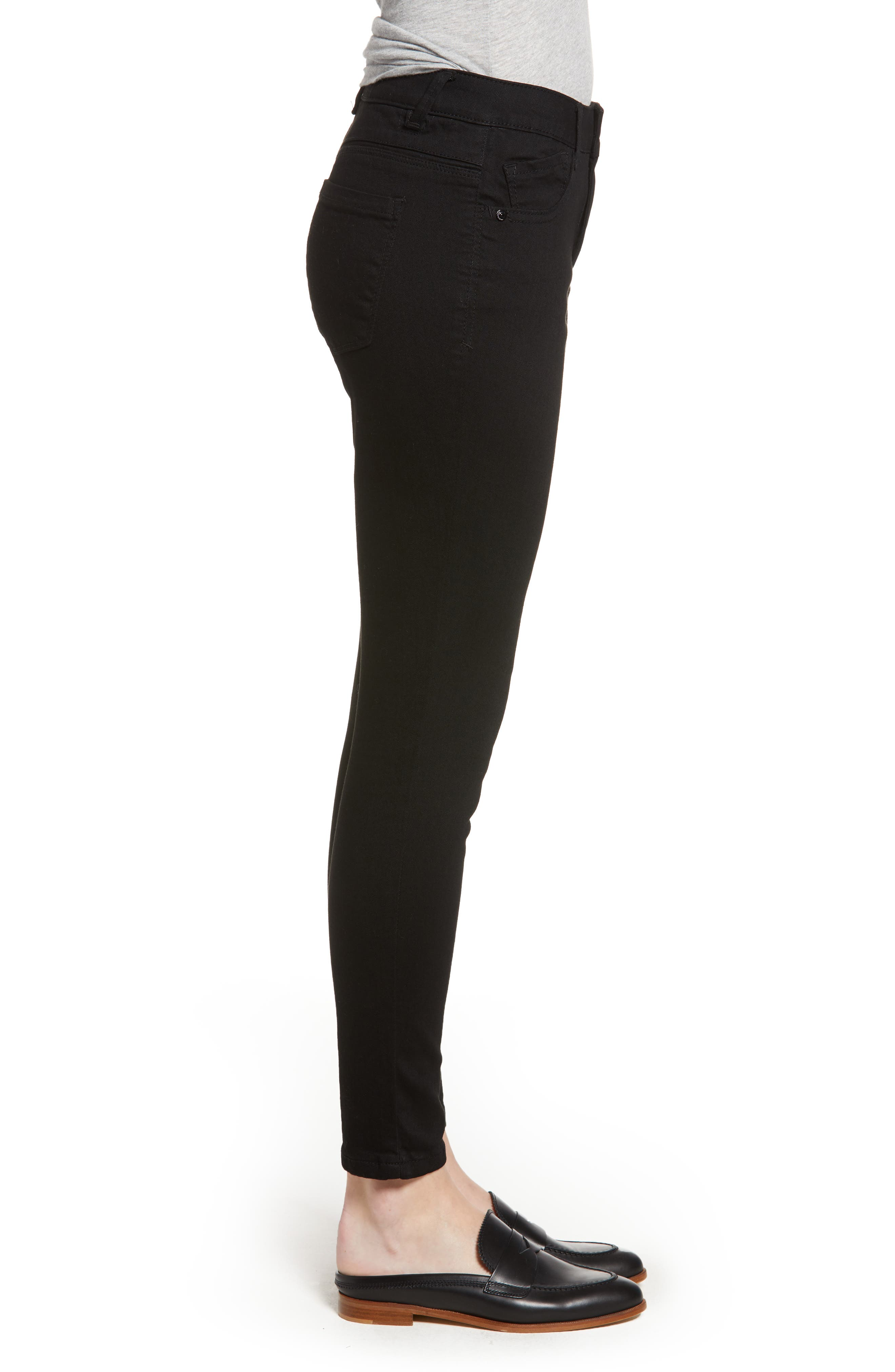 High Waist Ankle Skinny Jeans,                             Alternate thumbnail 3, color,                             001