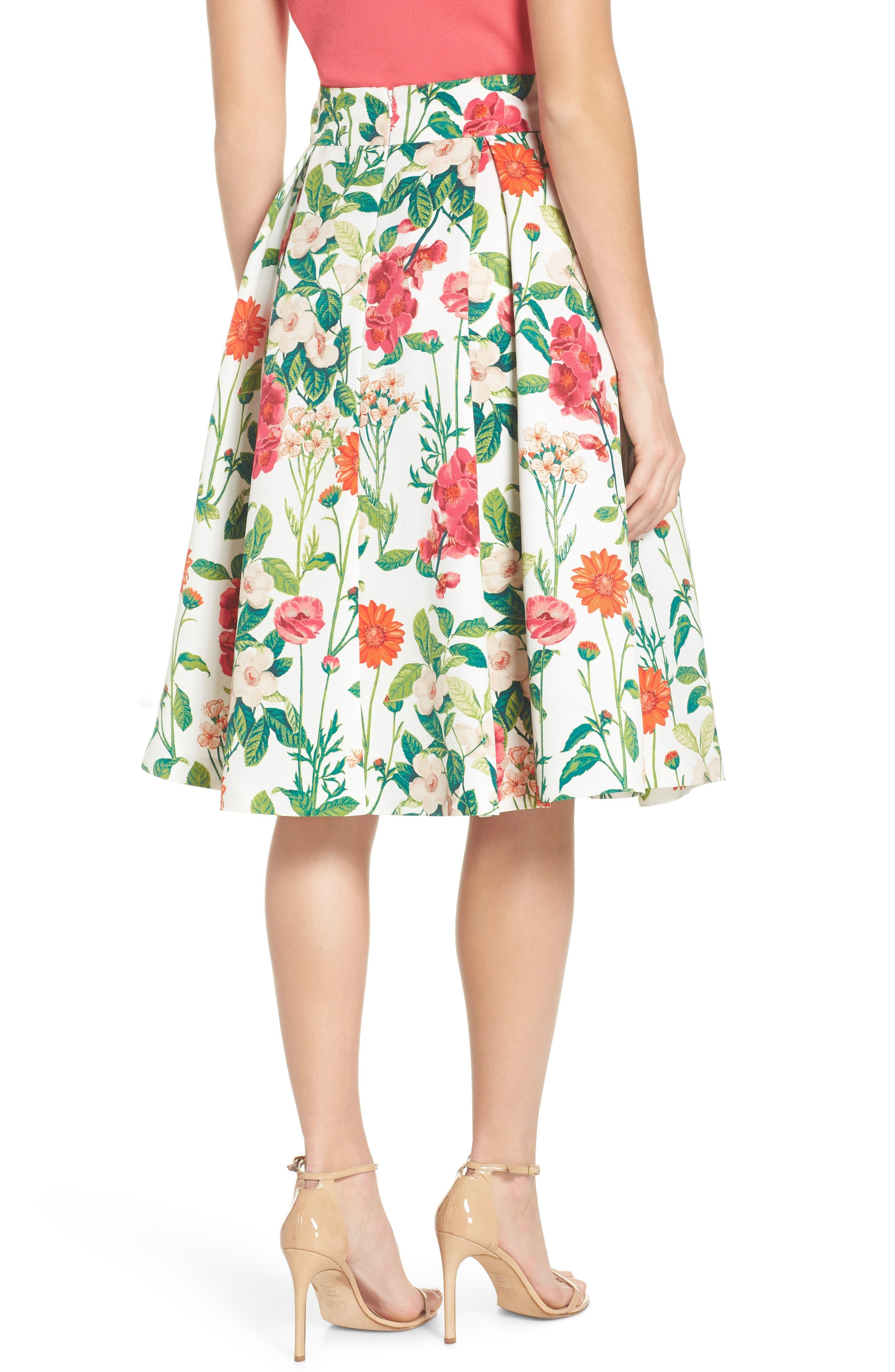 Floral A-Line Skirt,                             Alternate thumbnail 2, color,                             901