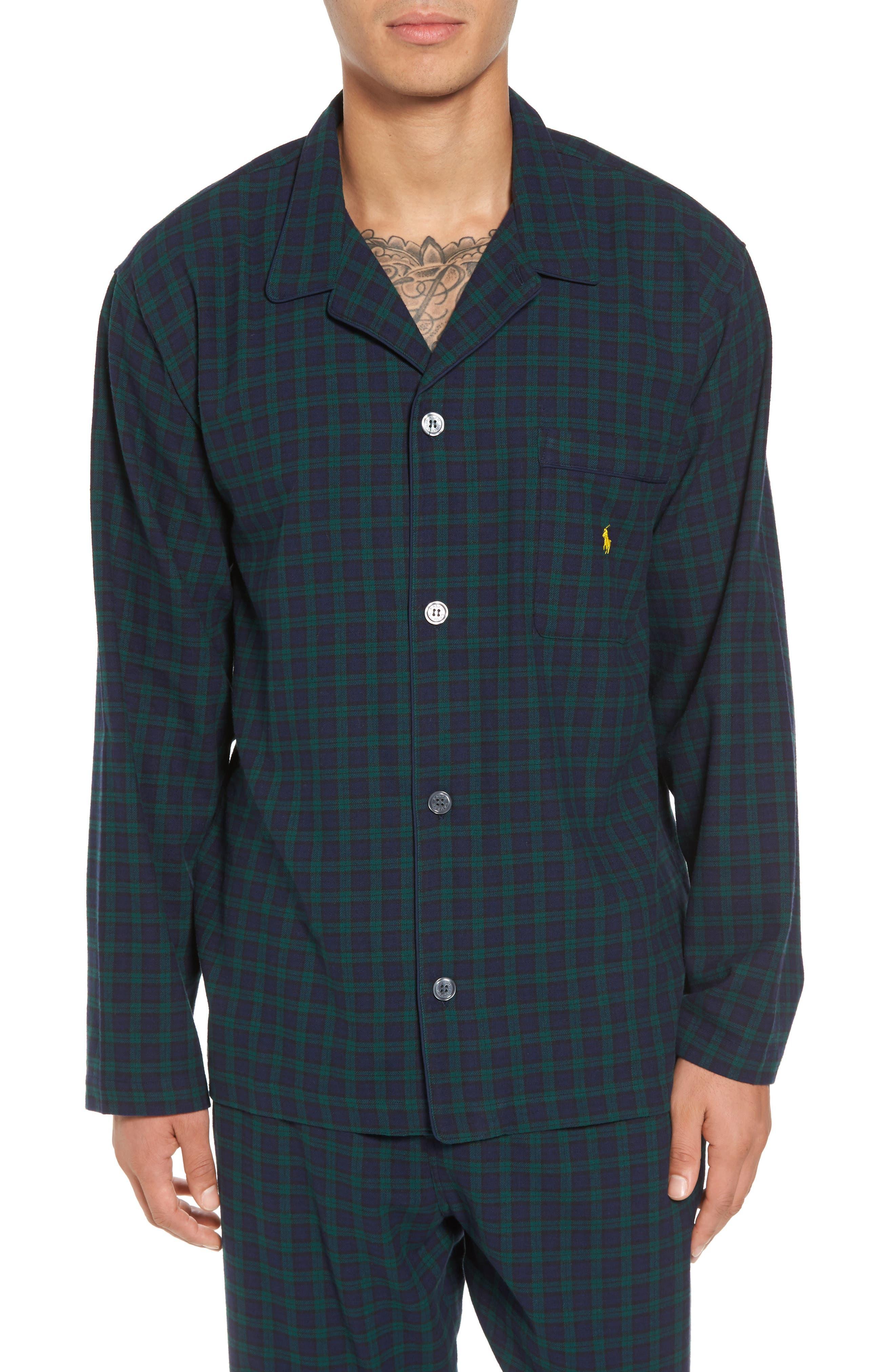 Polo Ralph Lauren Flannel Pajama Shirt,                             Main thumbnail 3, color,
