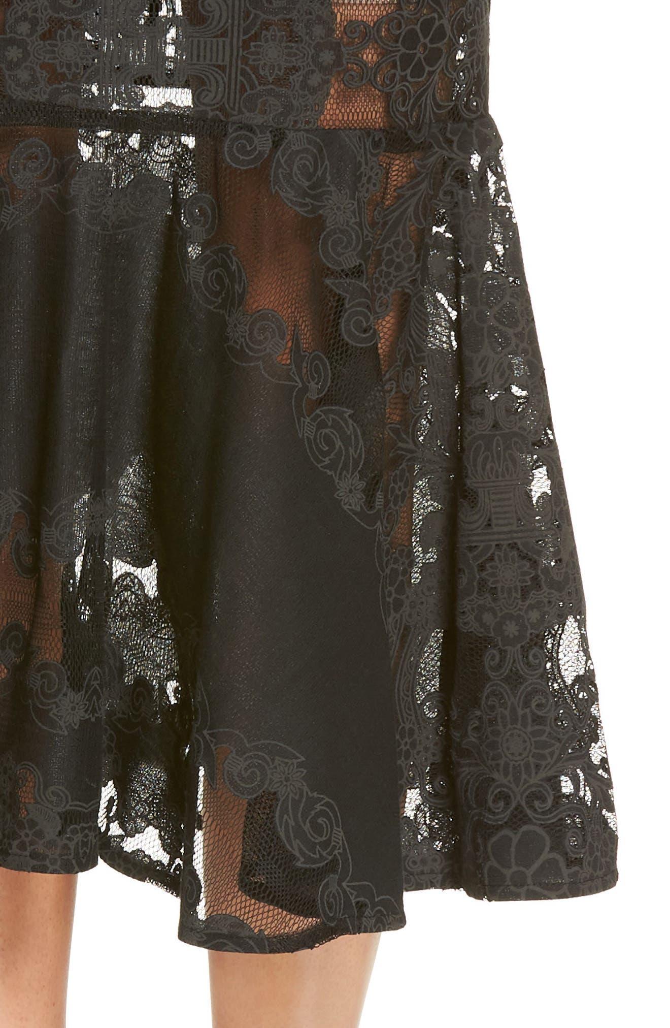 Bettina Lace Panel Tea Length Dress,                             Alternate thumbnail 4, color,                             BLACK