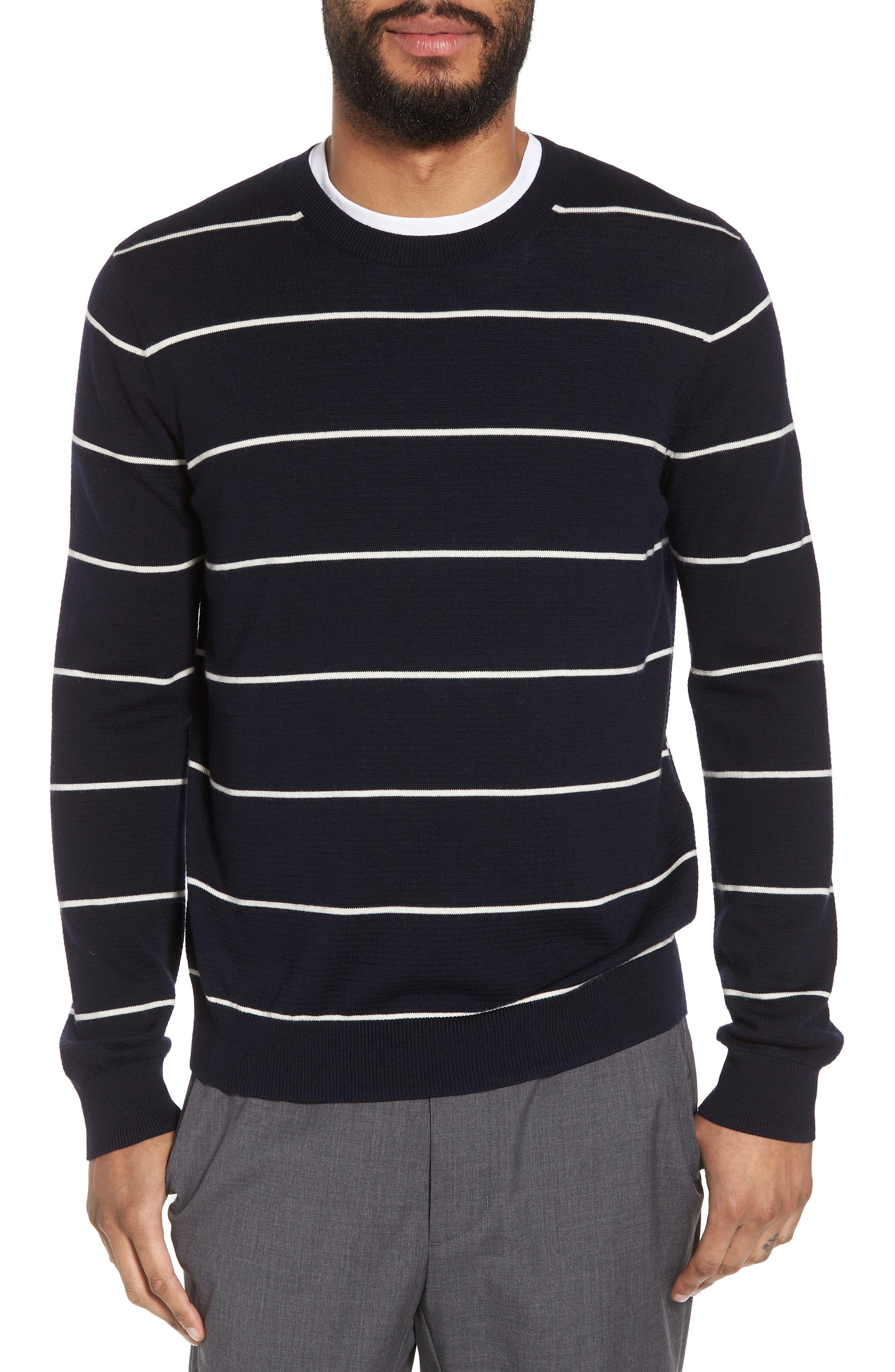 Slim Fit Stripe Crewneck Sweater,                         Main,                         color, 477