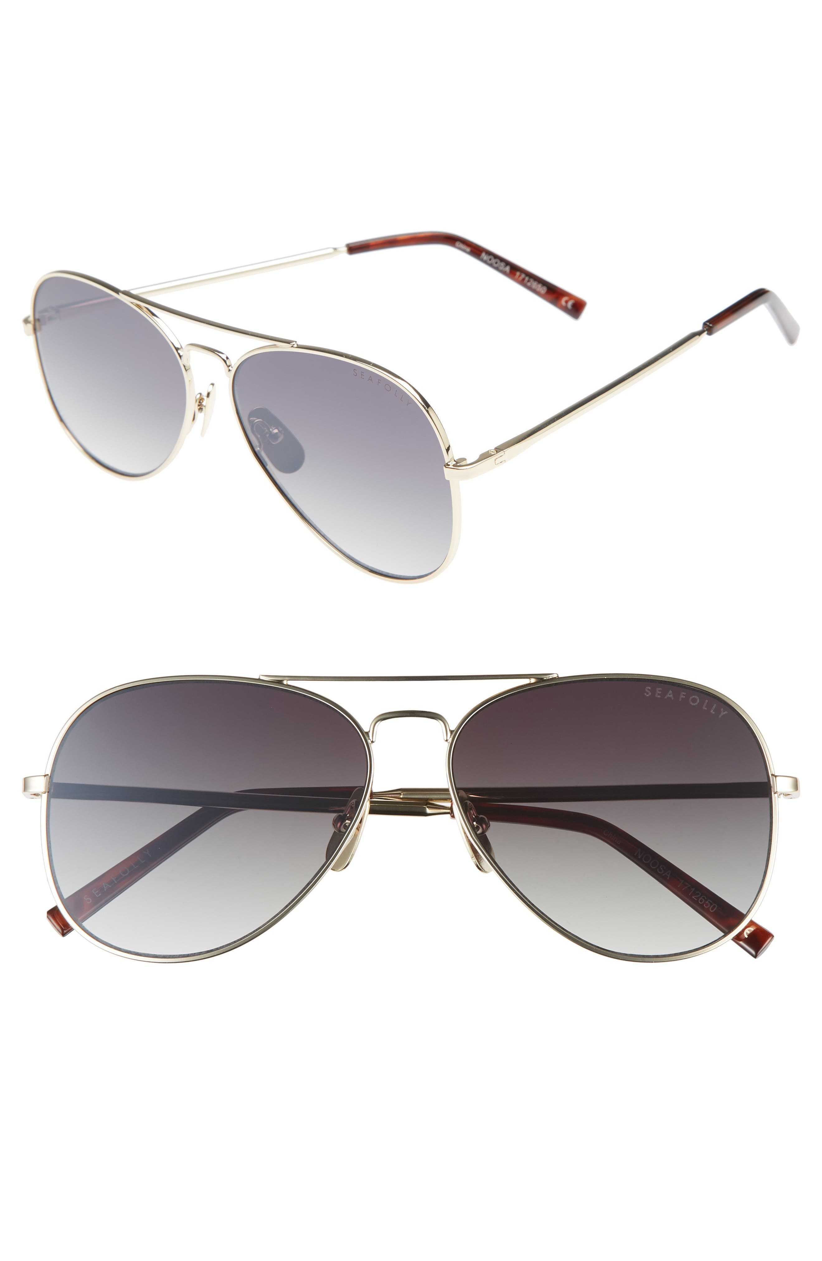 Noosa 51mm Metal Aviator Sunglasses,                         Main,                         color, GOLD