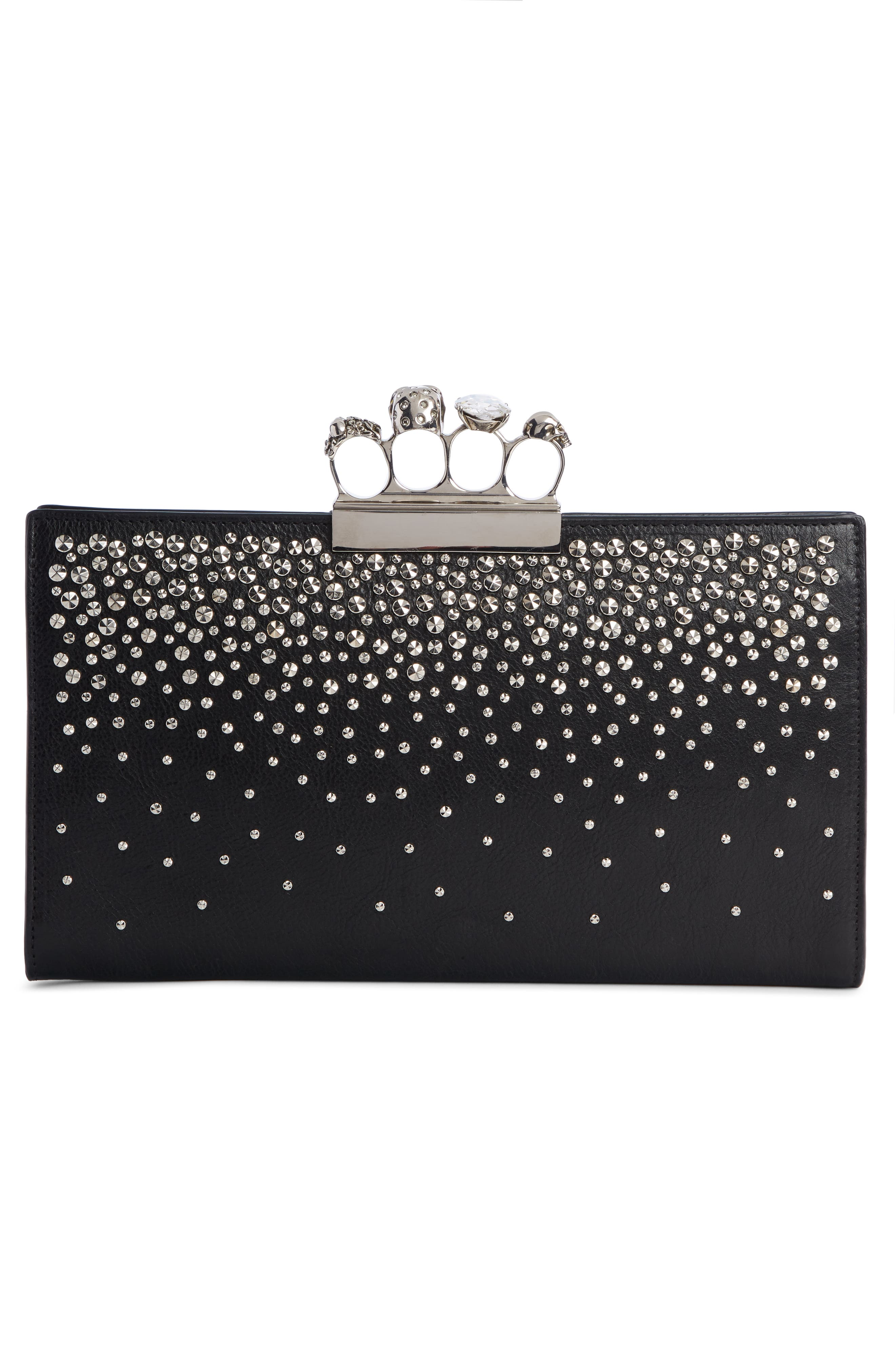 Four Ring Studded Knuckle Clasp Leather Clutch,                             Alternate thumbnail 3, color,                             BLACK