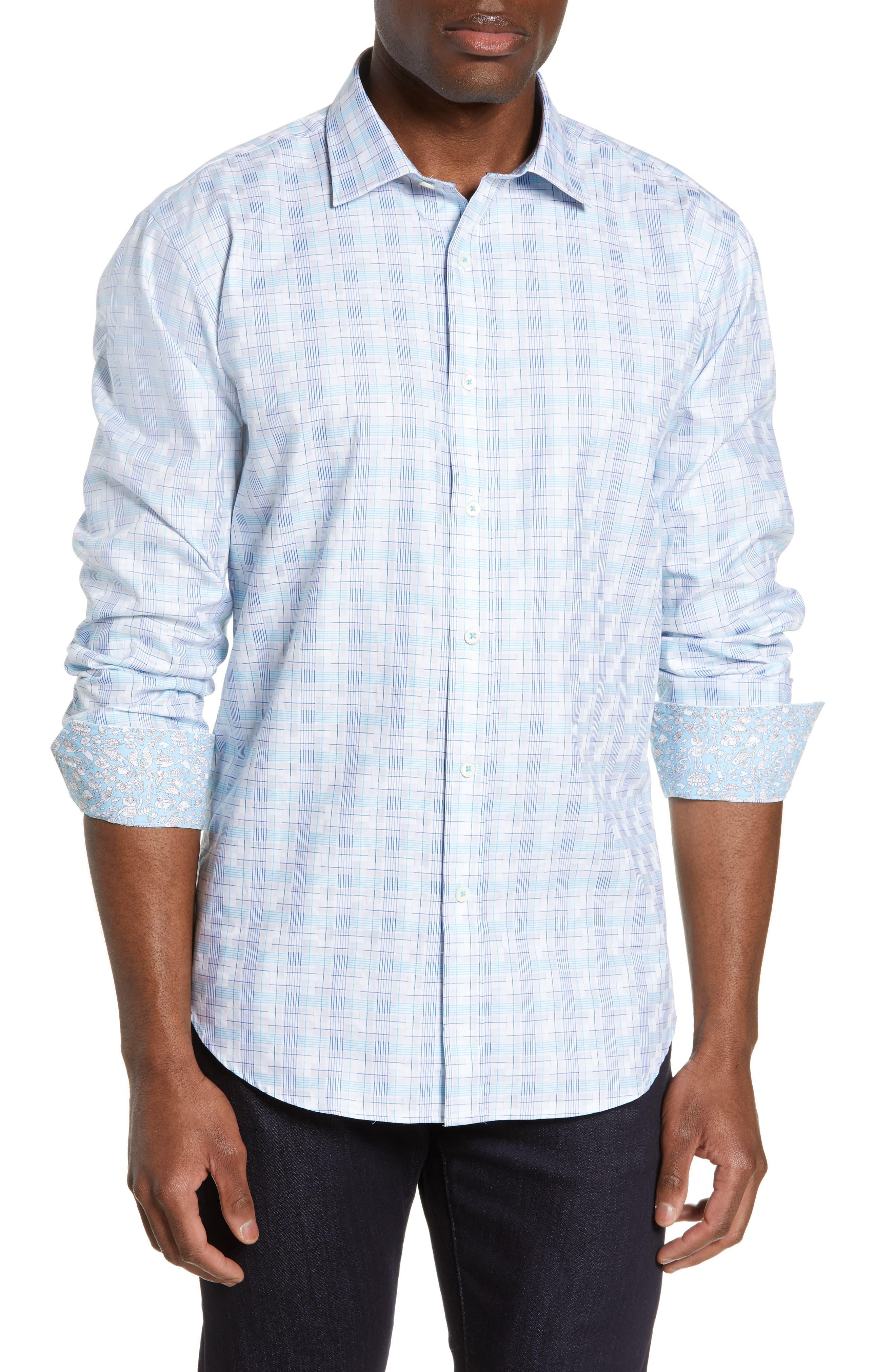 BUGATCHI Shaped Fit Sport Shirt, Main, color, SNOW