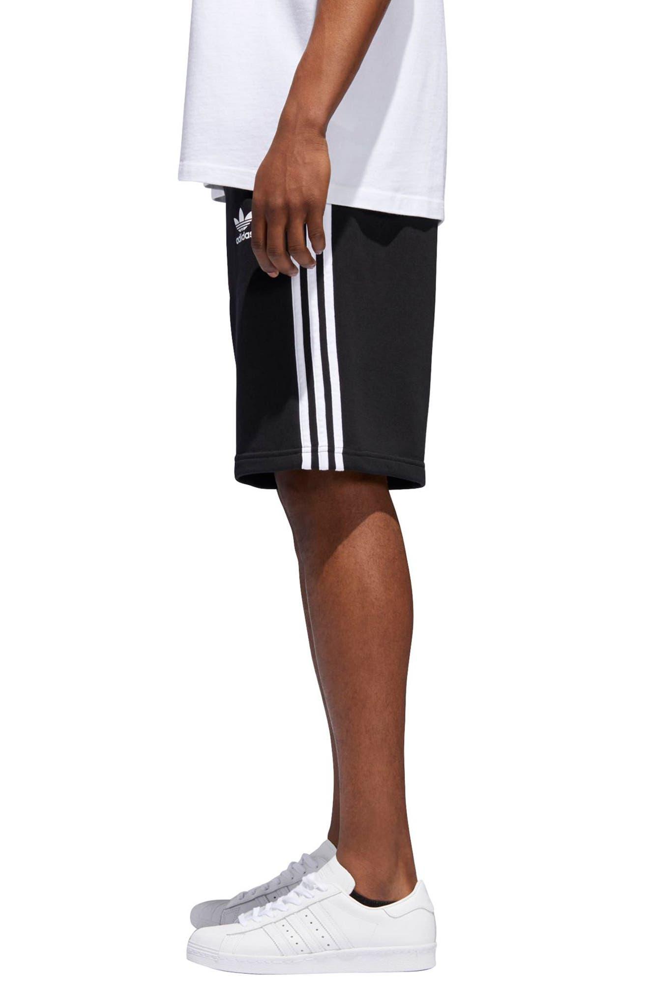 3-Stripes Shorts,                             Alternate thumbnail 3, color,                             BLACK/ WHITE
