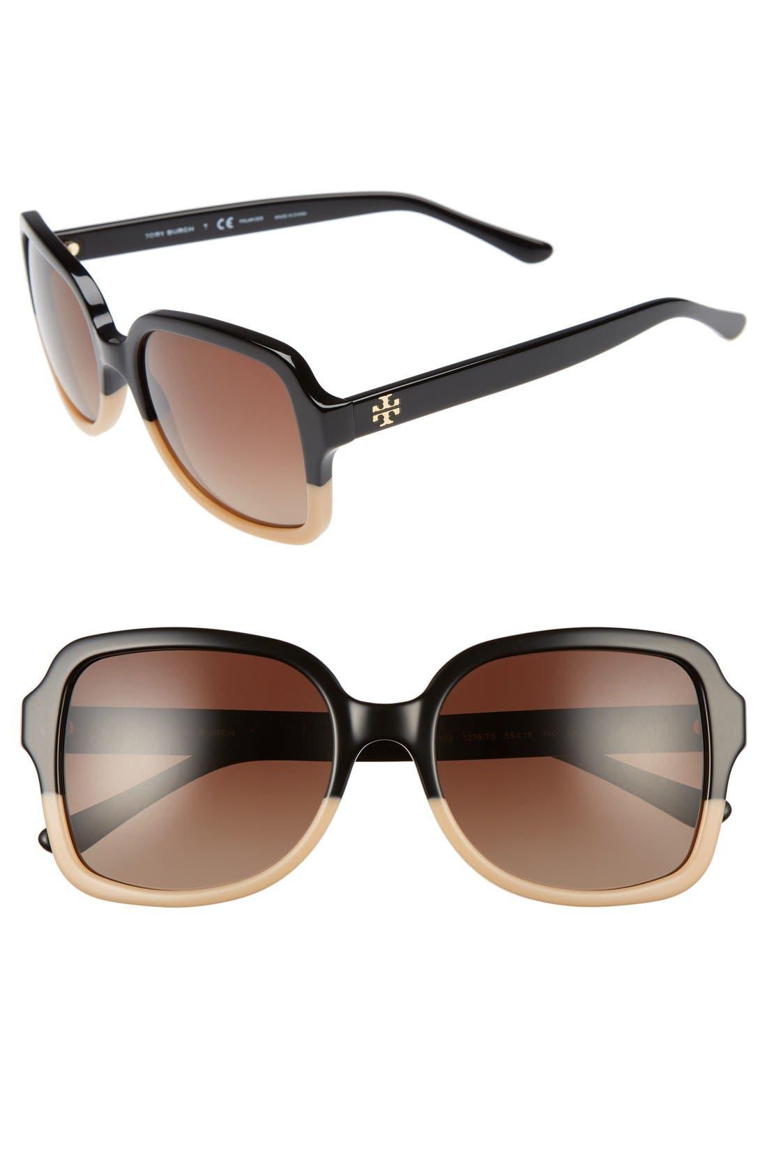 55mm Polarized Sunglasses,                             Main thumbnail 1, color,                             001