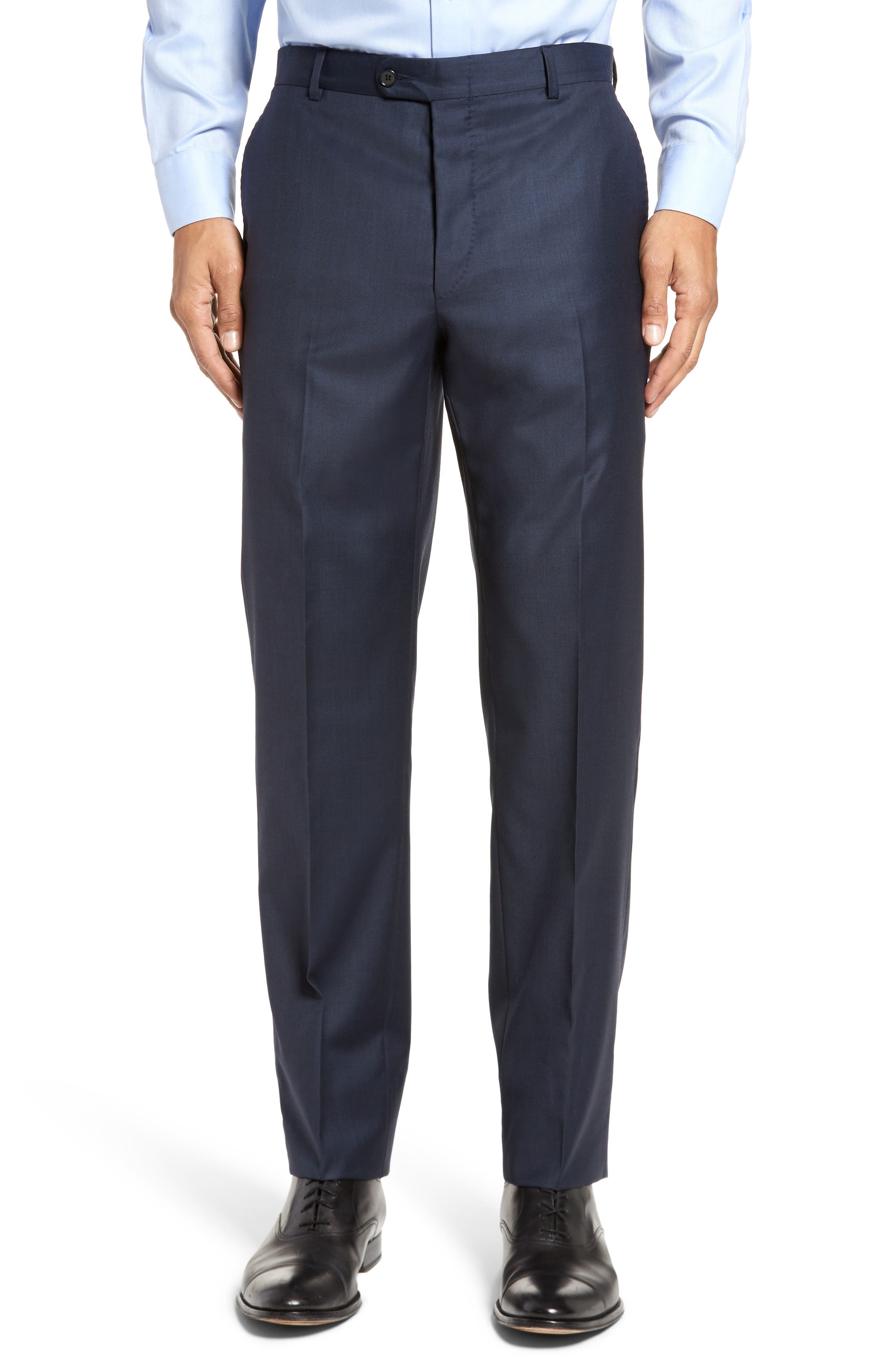 Classic B Fit Solid Loro Piana Wool Suit,                             Alternate thumbnail 6, color,                             NAVY SHARKSKIN