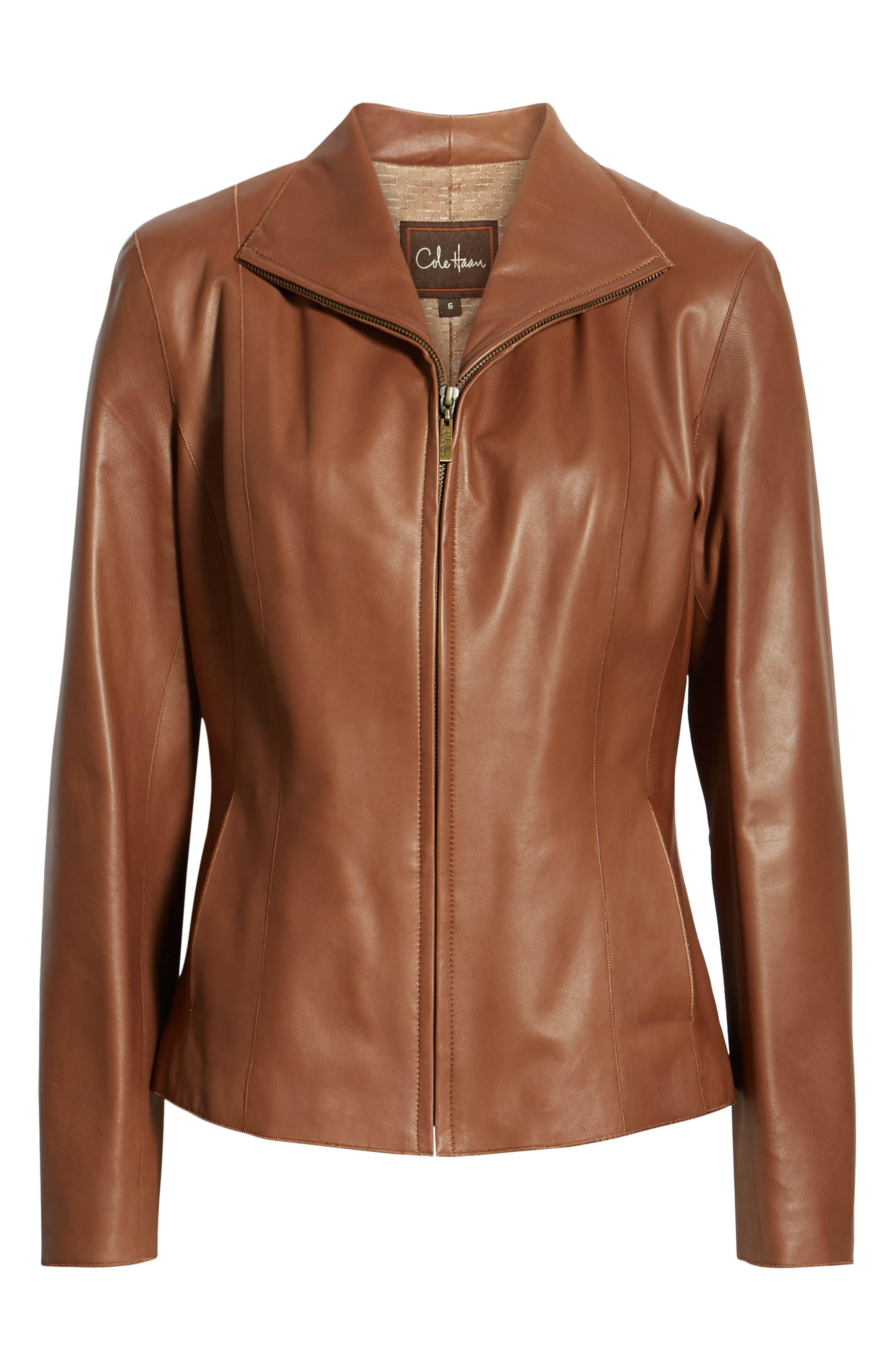 COLE HAAN,                             Lambskin Leather Scuba Jacket,                             Alternate thumbnail 6, color,                             237