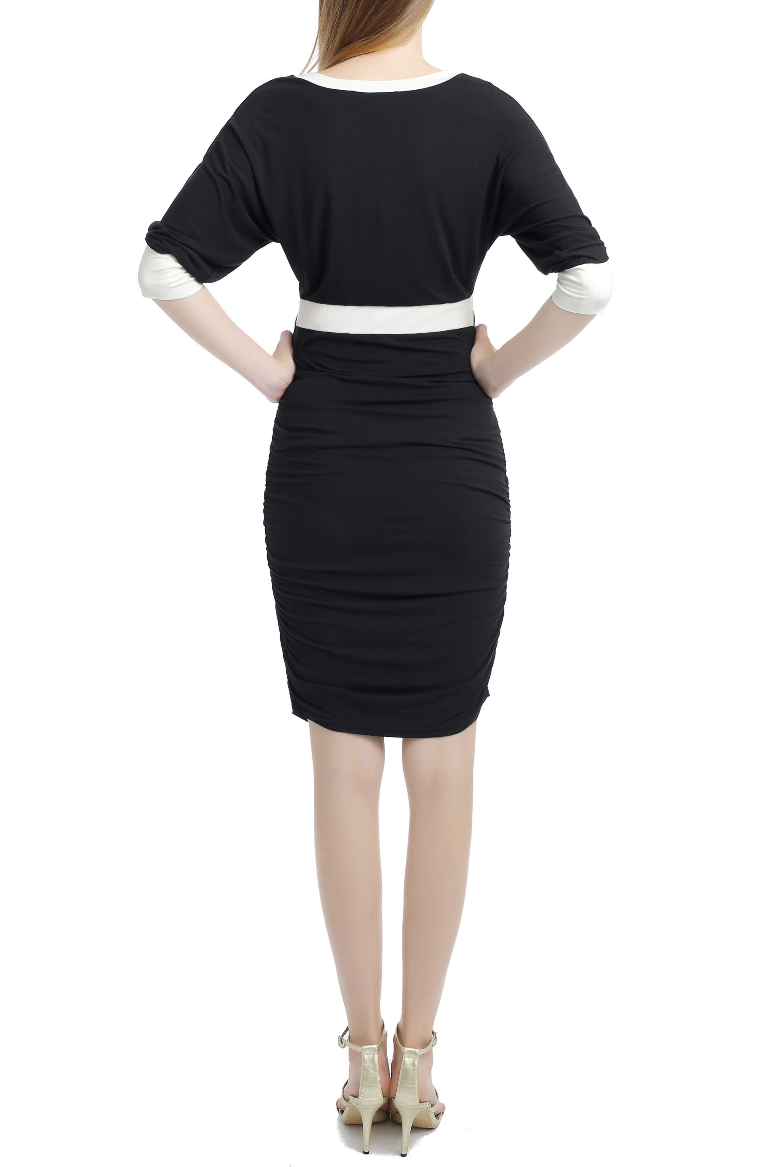 Alexa Maternity Midi Dress,                             Alternate thumbnail 2, color,                             BLACK/ WHITE