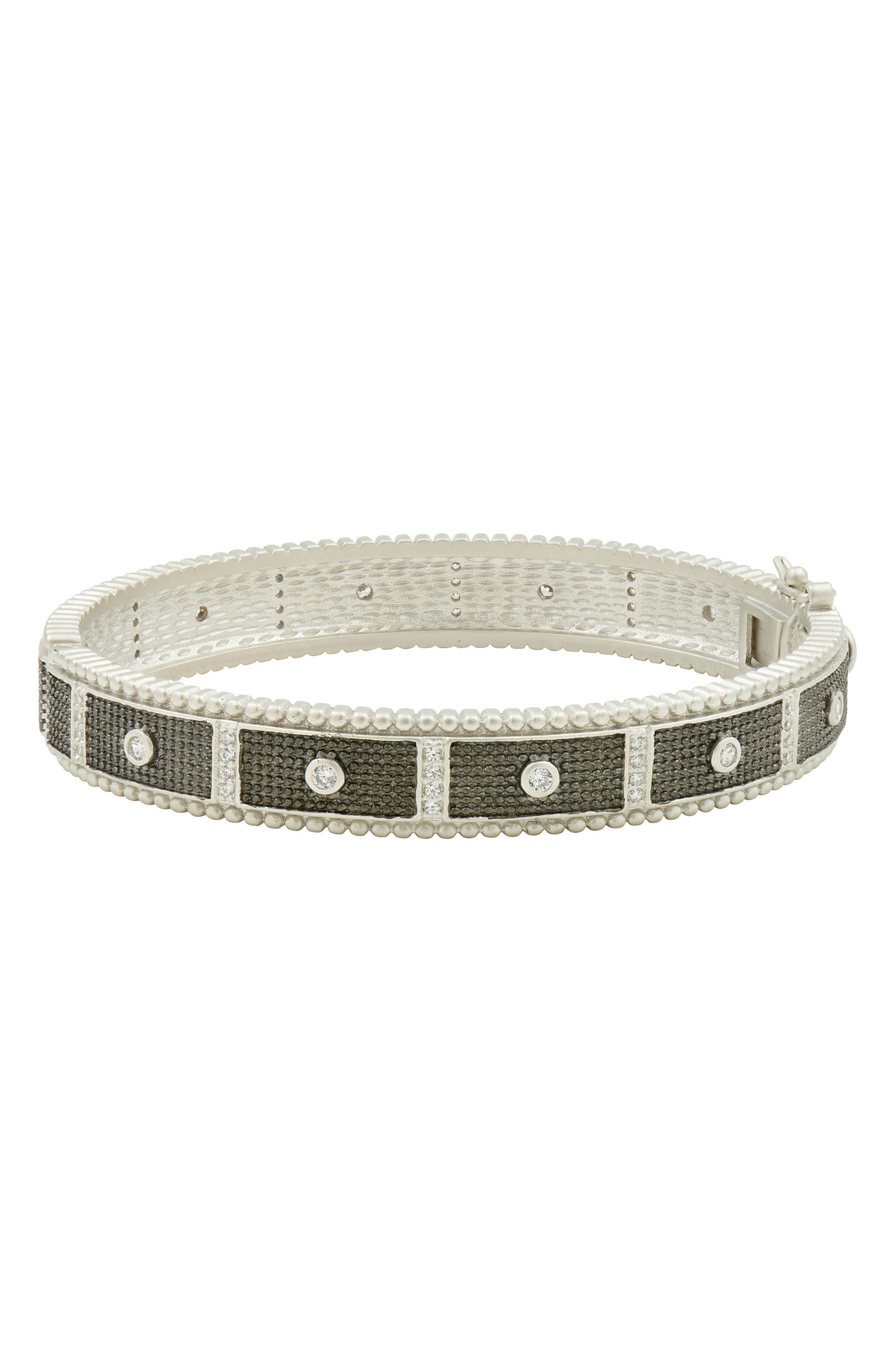 Industrial Finish Bezel Bar Cuff Bracelet,                             Main thumbnail 1, color,                             SILVER/ BLACK RHODIUM