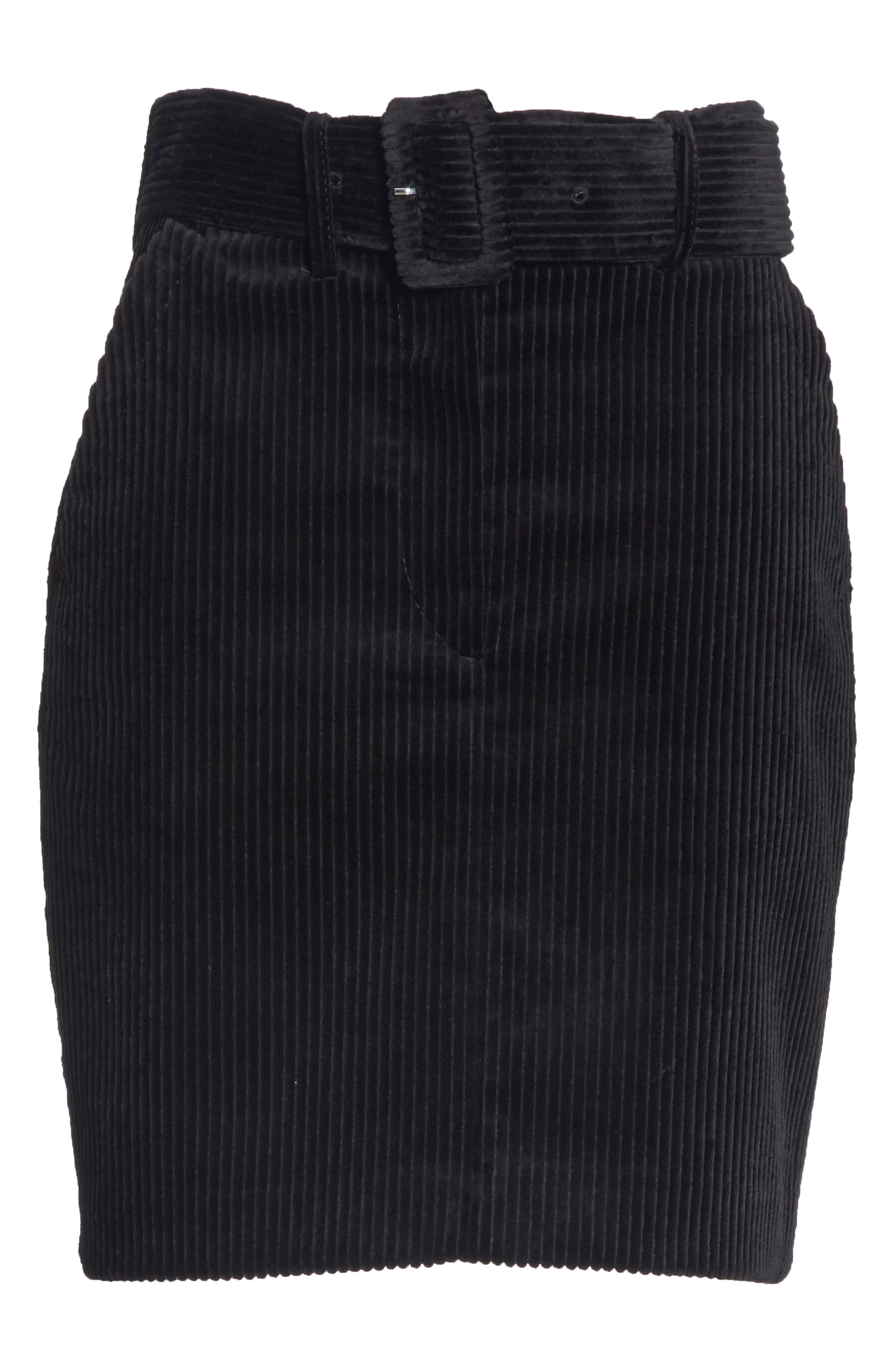 SANDRO,                             Belted Corduroy Skirt,                             Alternate thumbnail 6, color,                             001