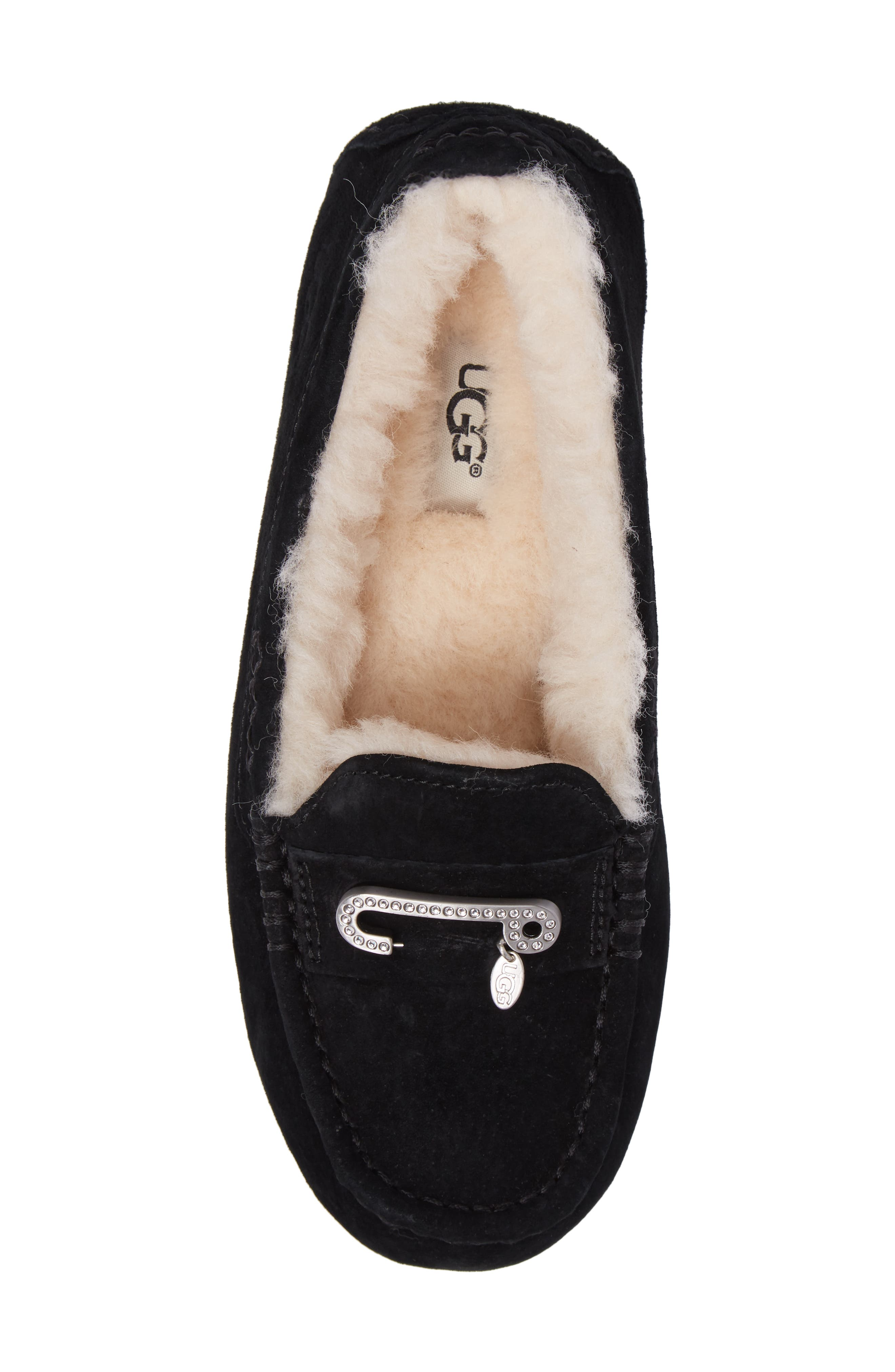 Florencia Water Resistant Silkee<sup>™</sup> Suede Slipper,                             Alternate thumbnail 5, color,                             001