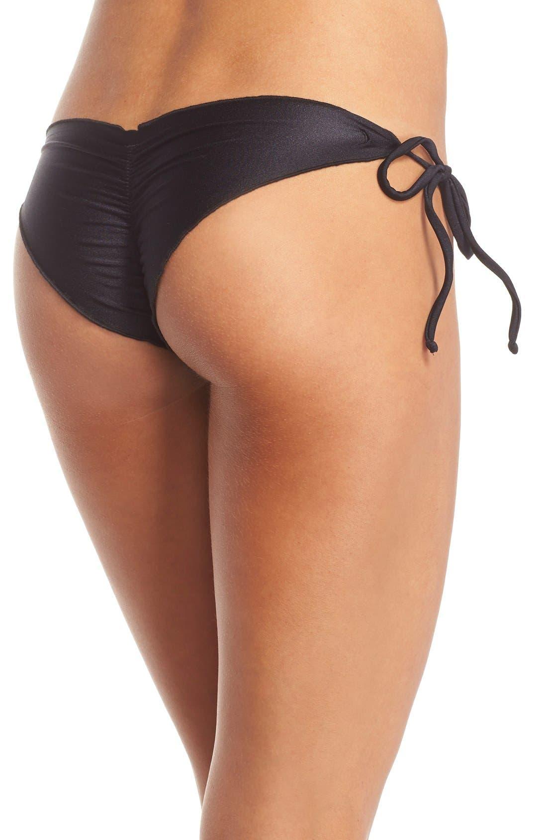 'Wavy' Brazilian Side Tie Bikini Bottoms,                         Main,                         color, BLACK