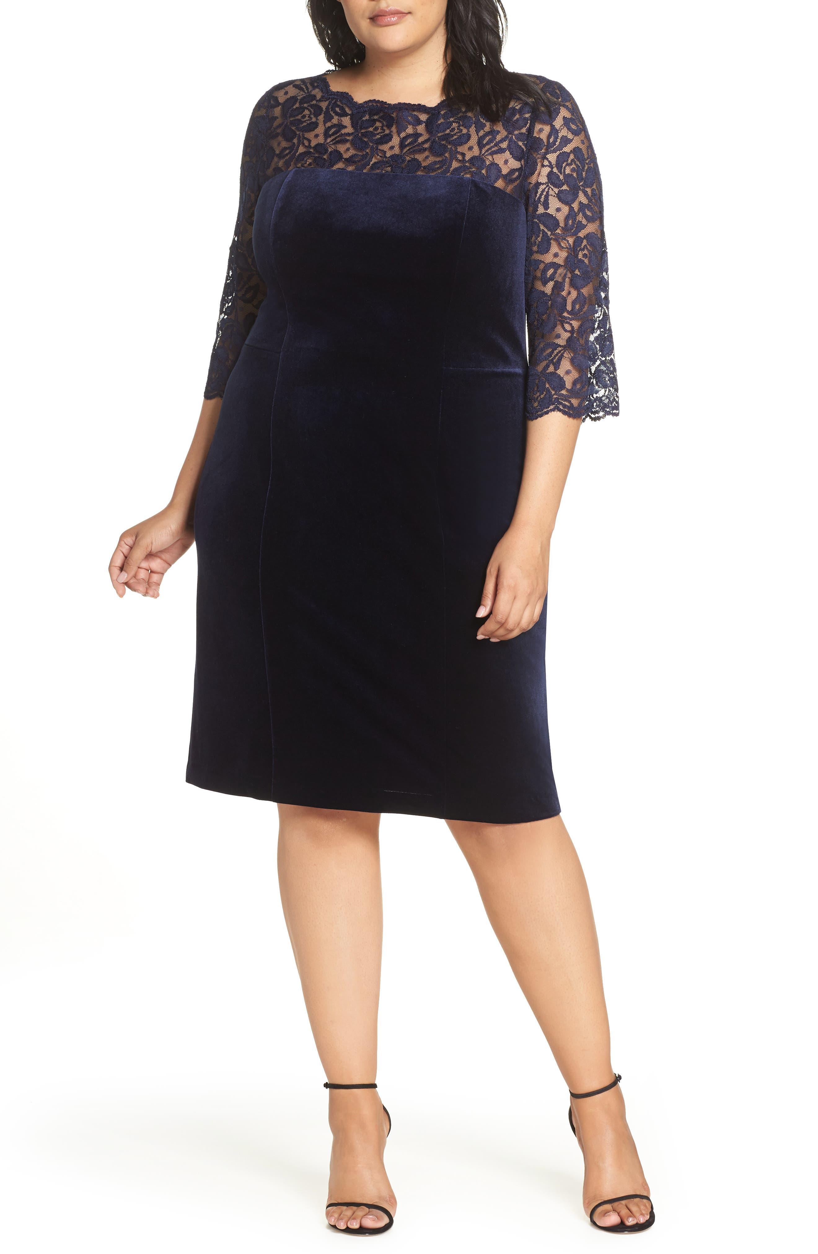 Lace & Stretch Velvet Cocktail Dress, Main, color, NAVY