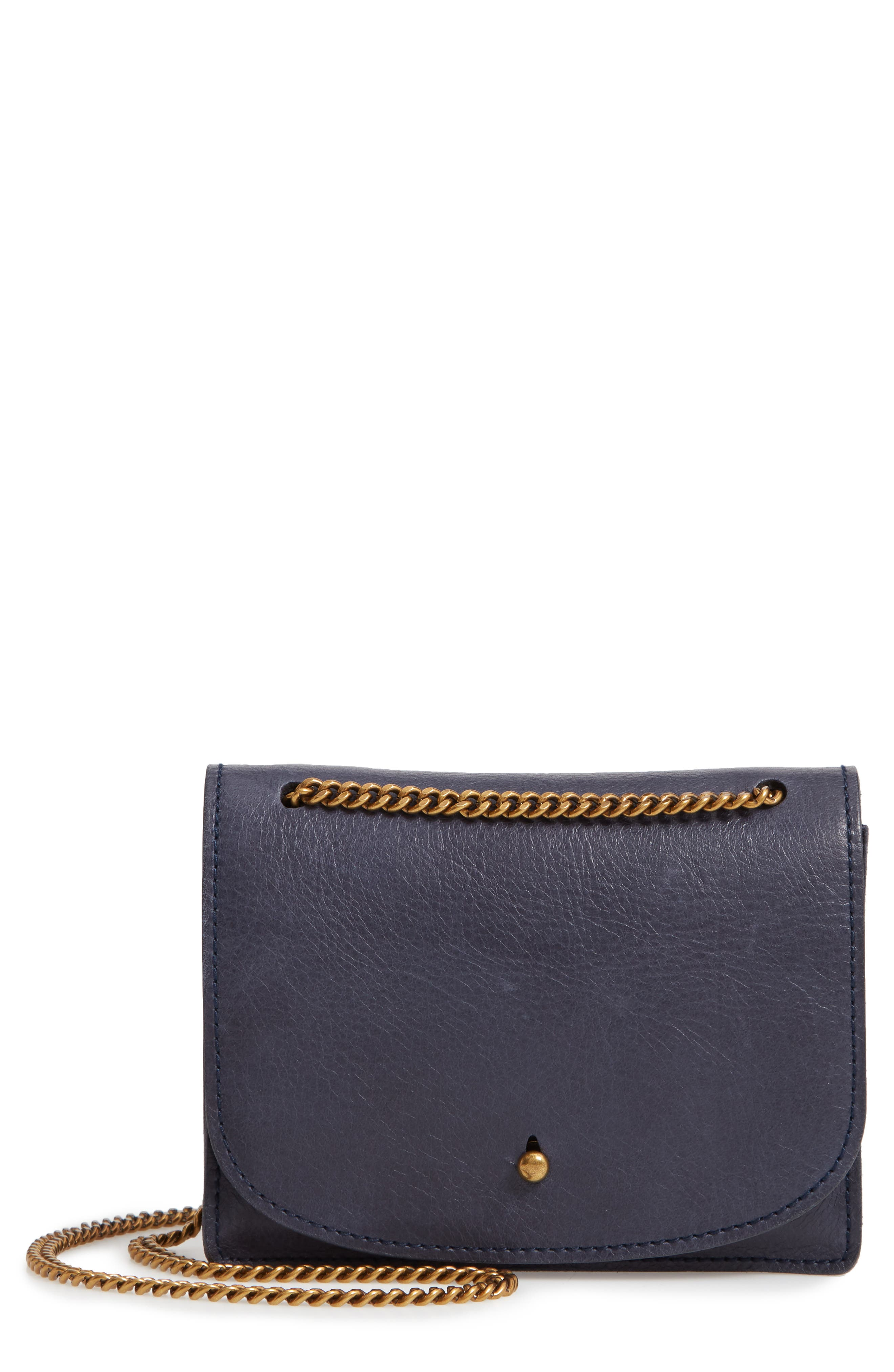 Leather Crossbody Wallet,                         Main,                         color, DEEP NAVY