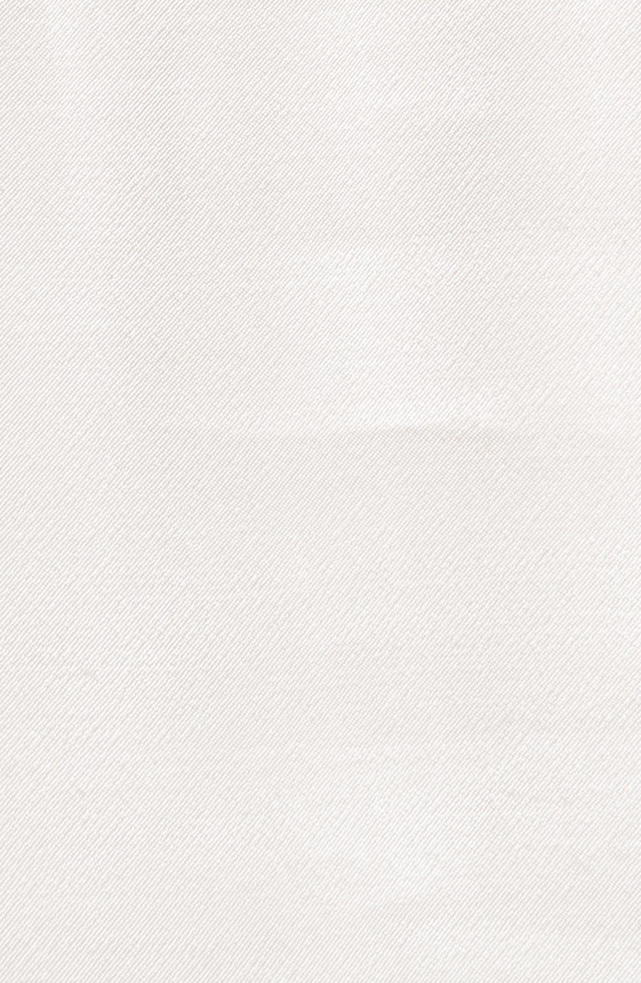 Sheer Yoke Ruffle Satin Top,                             Alternate thumbnail 5, color,                             100