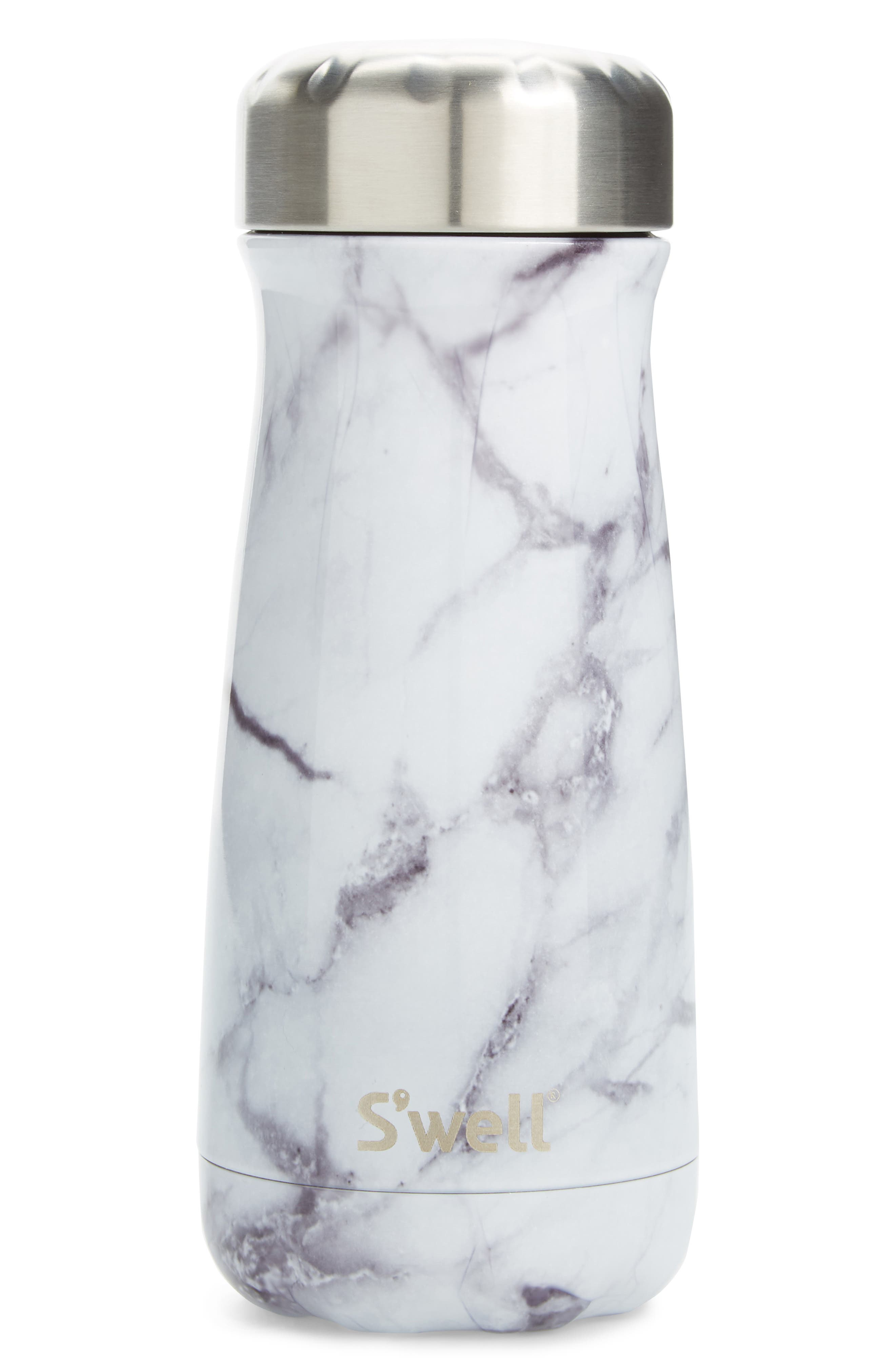 Traveler White Marble Insulated Stainless Steel Water Bottle,                             Main thumbnail 1, color,                             WHITE MARBLE