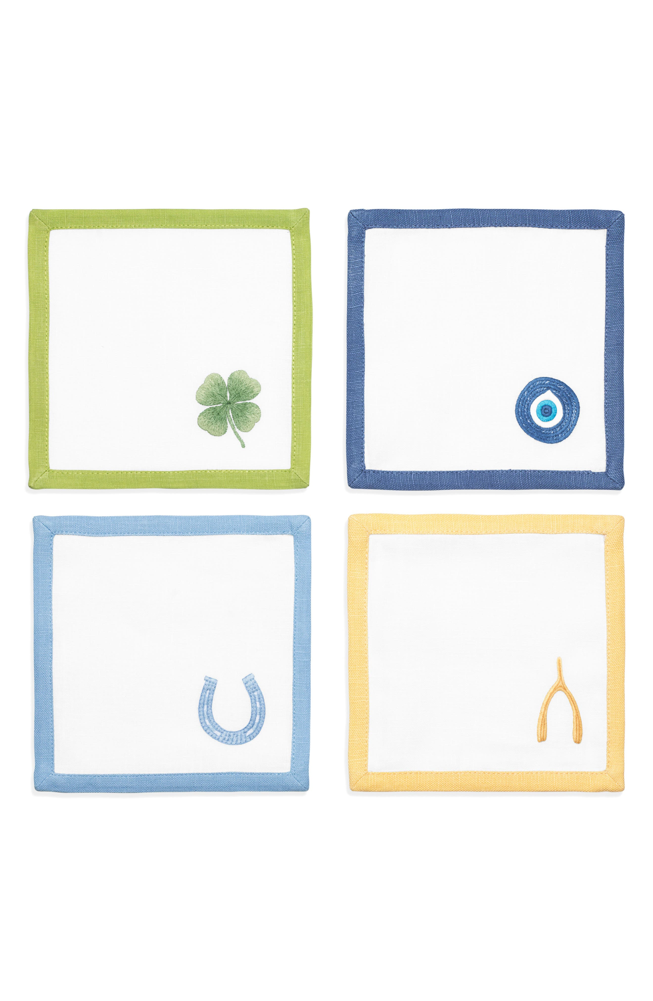 Lucky Charm Cocktail Napkins,                         Main,                         color, WHITE/ MULTI