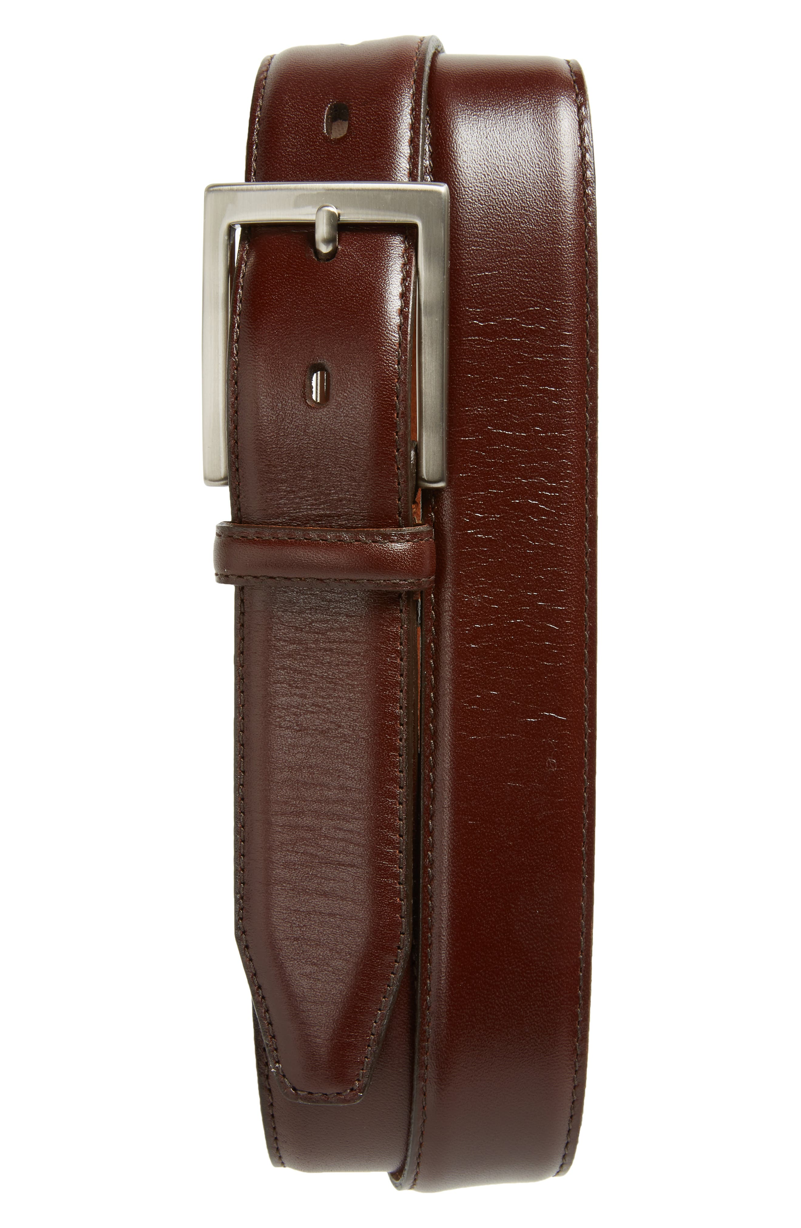 Calfskin Belt,                             Main thumbnail 1, color,                             BROWN