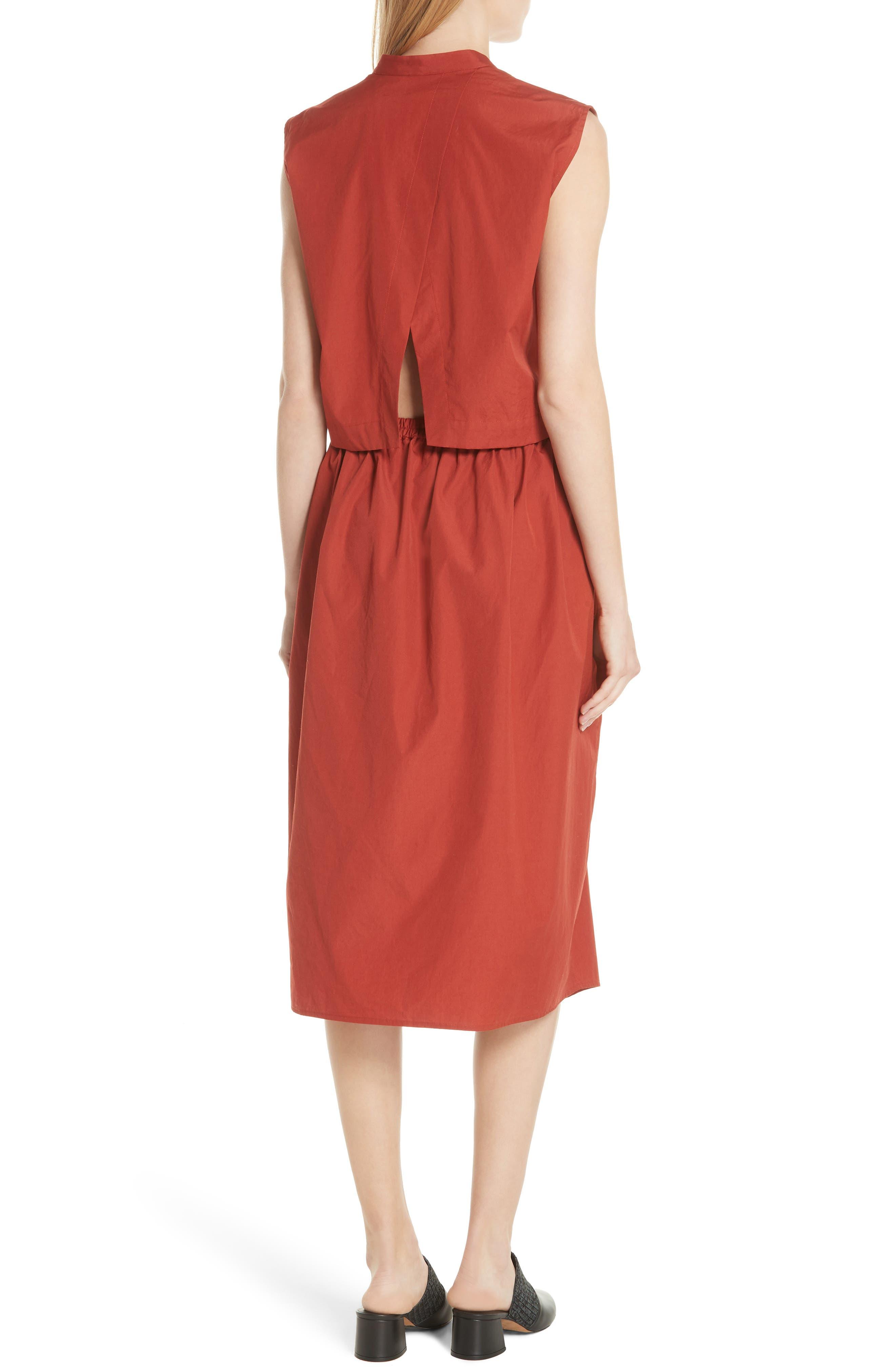Back Cutout Cotton Utility Dress,                             Alternate thumbnail 4, color,
