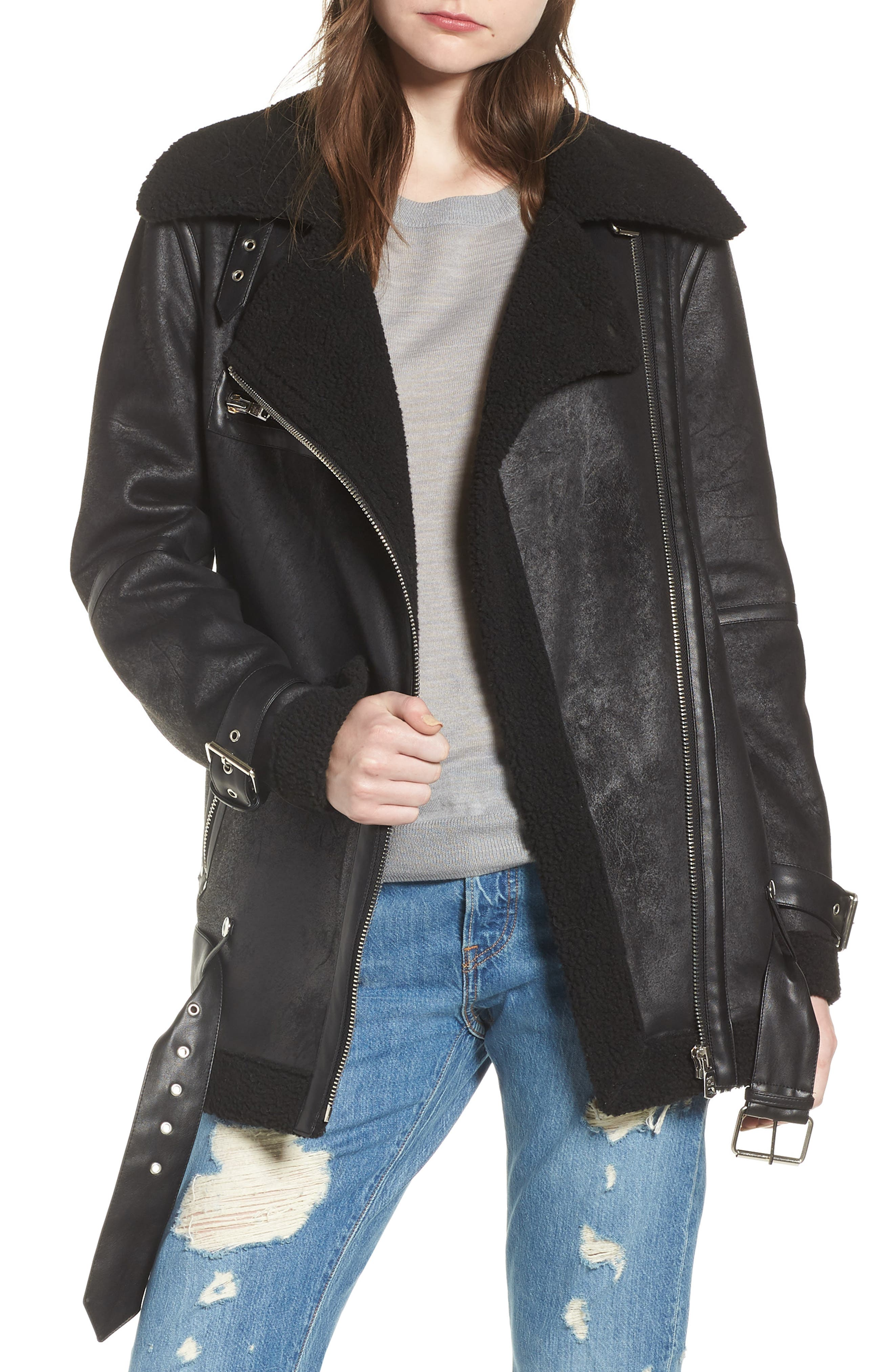 Faux Shearling Biker Jacket,                             Alternate thumbnail 8, color,                             BLACK